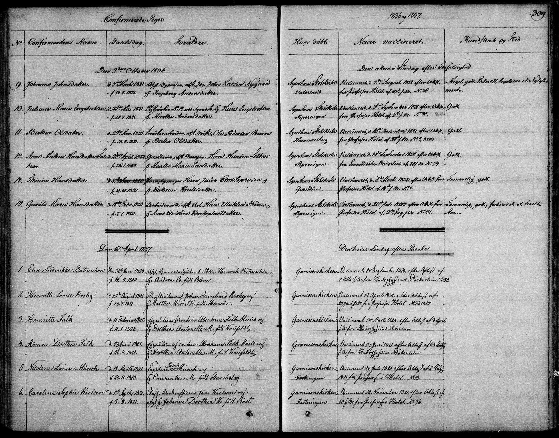 SAO, Garnisonsmenigheten Kirkebøker, F/Fa/L0006: Ministerialbok nr. 6, 1828-1841, s. 309