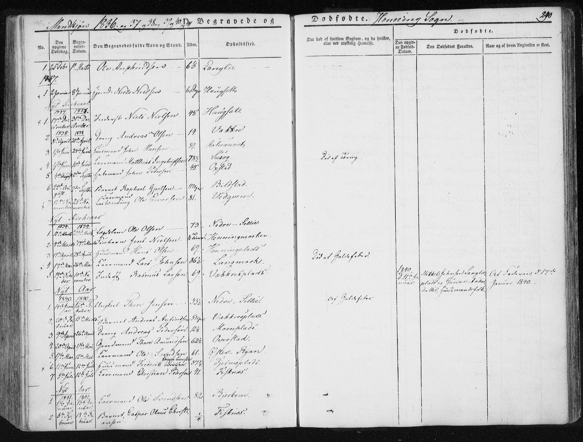 SAT, Ministerialprotokoller, klokkerbøker og fødselsregistre - Nord-Trøndelag, 735/L0339: Ministerialbok nr. 735A06 /3, 1836-1848, s. 290