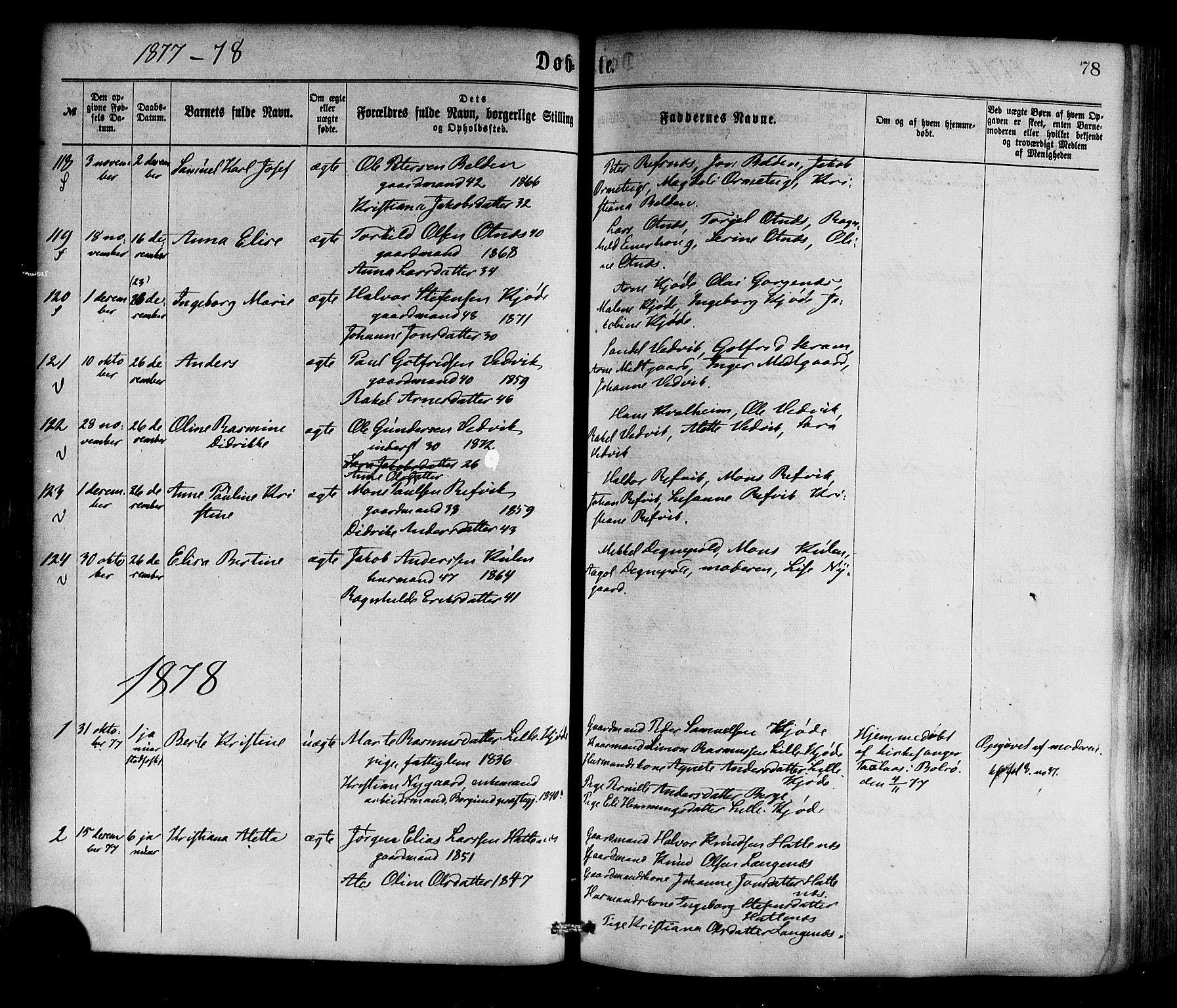 SAB, Selje sokneprestembete*, Ministerialbok nr. A 12, 1870-1880, s. 78
