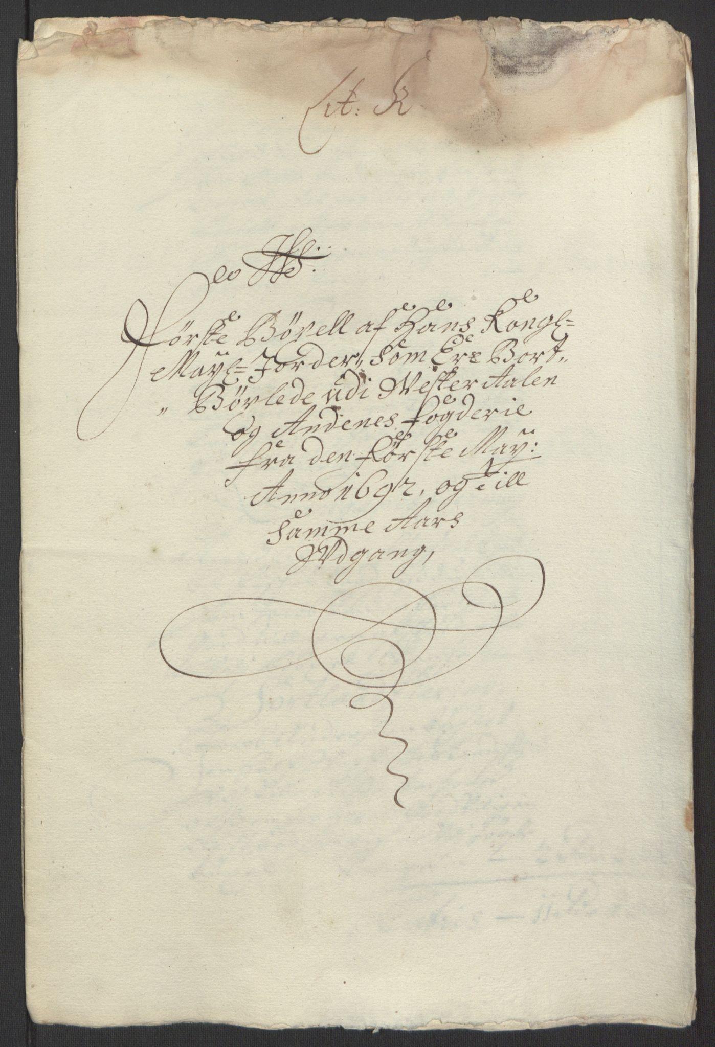RA, Rentekammeret inntil 1814, Reviderte regnskaper, Fogderegnskap, R67/L4676: Fogderegnskap Vesterålen, Andenes og Lofoten, 1691-1693, s. 176