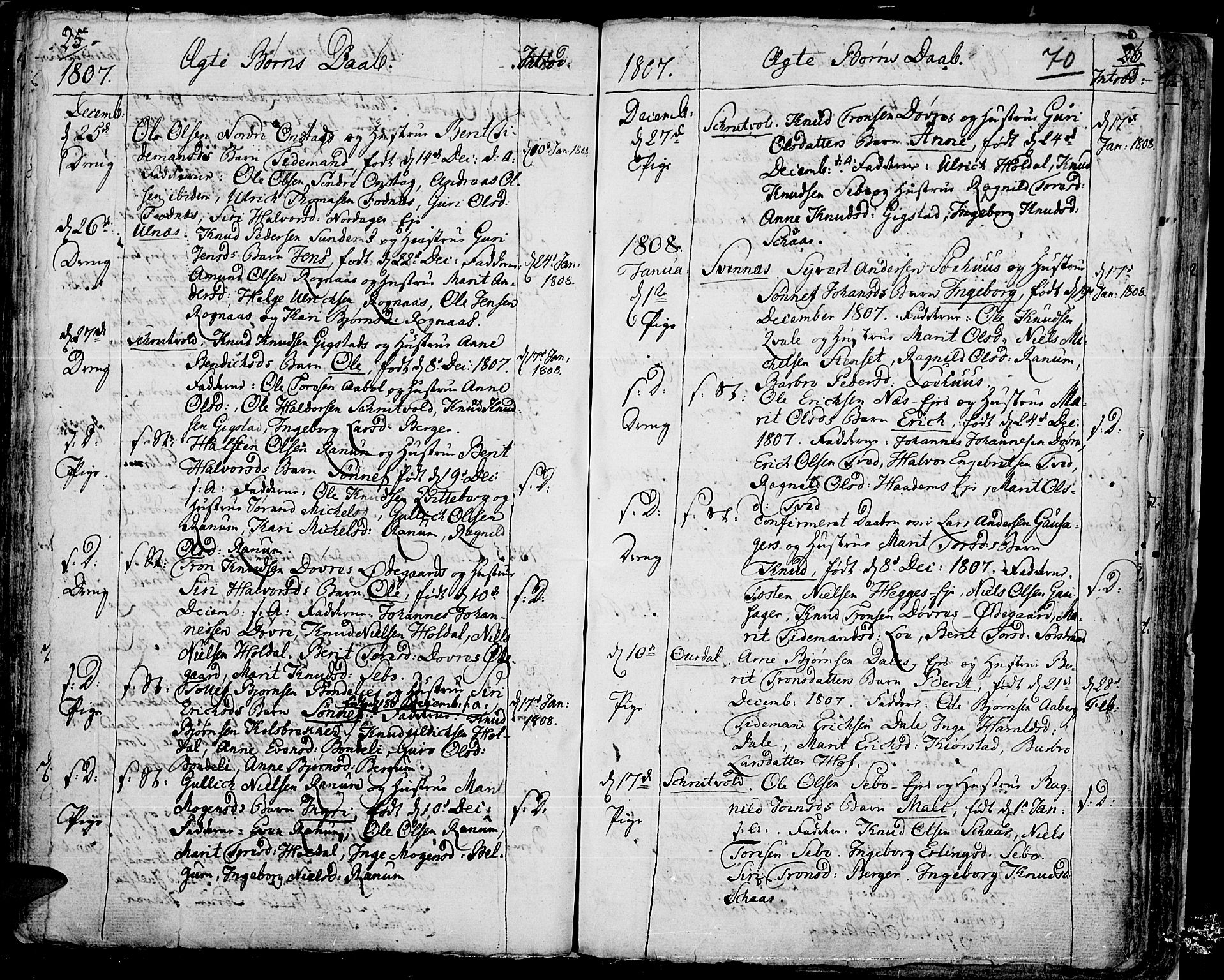 SAH, Aurdal prestekontor, Ministerialbok nr. 7, 1800-1808, s. 70