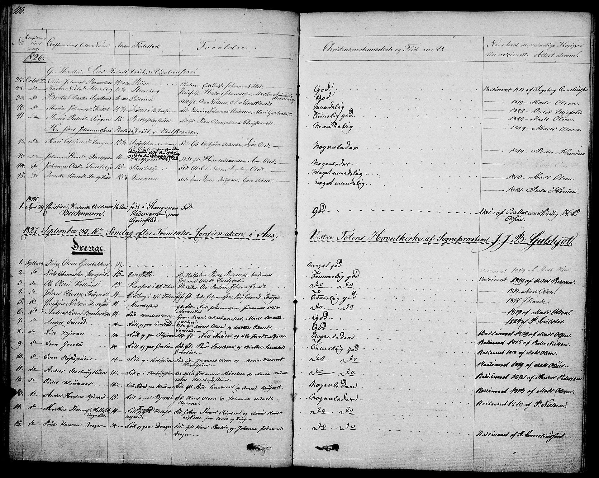 SAH, Vestre Toten prestekontor, Ministerialbok nr. 2, 1825-1837, s. 106