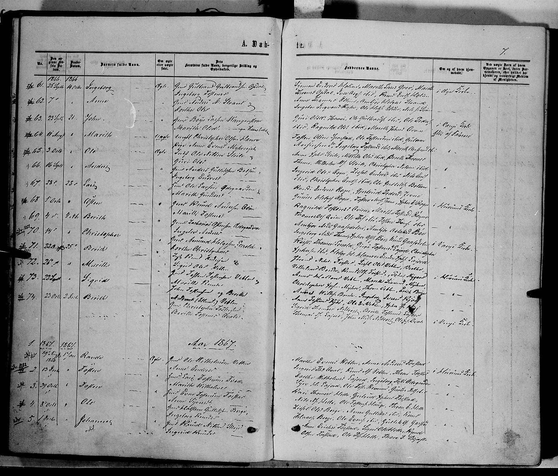 SAH, Vang prestekontor, Valdres, Ministerialbok nr. 7, 1865-1881, s. 7