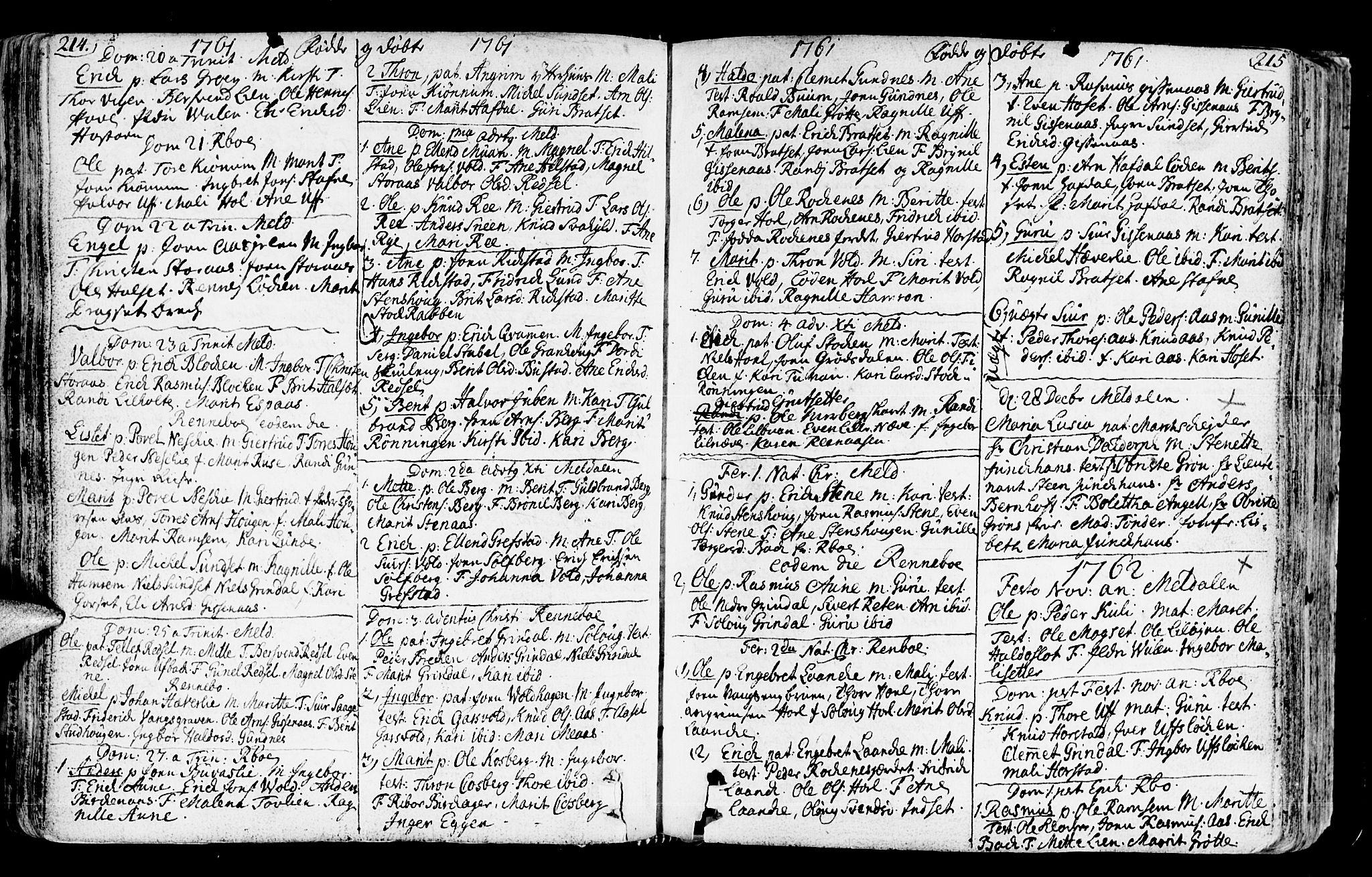 SAT, Ministerialprotokoller, klokkerbøker og fødselsregistre - Sør-Trøndelag, 672/L0851: Ministerialbok nr. 672A04, 1751-1775, s. 214-215