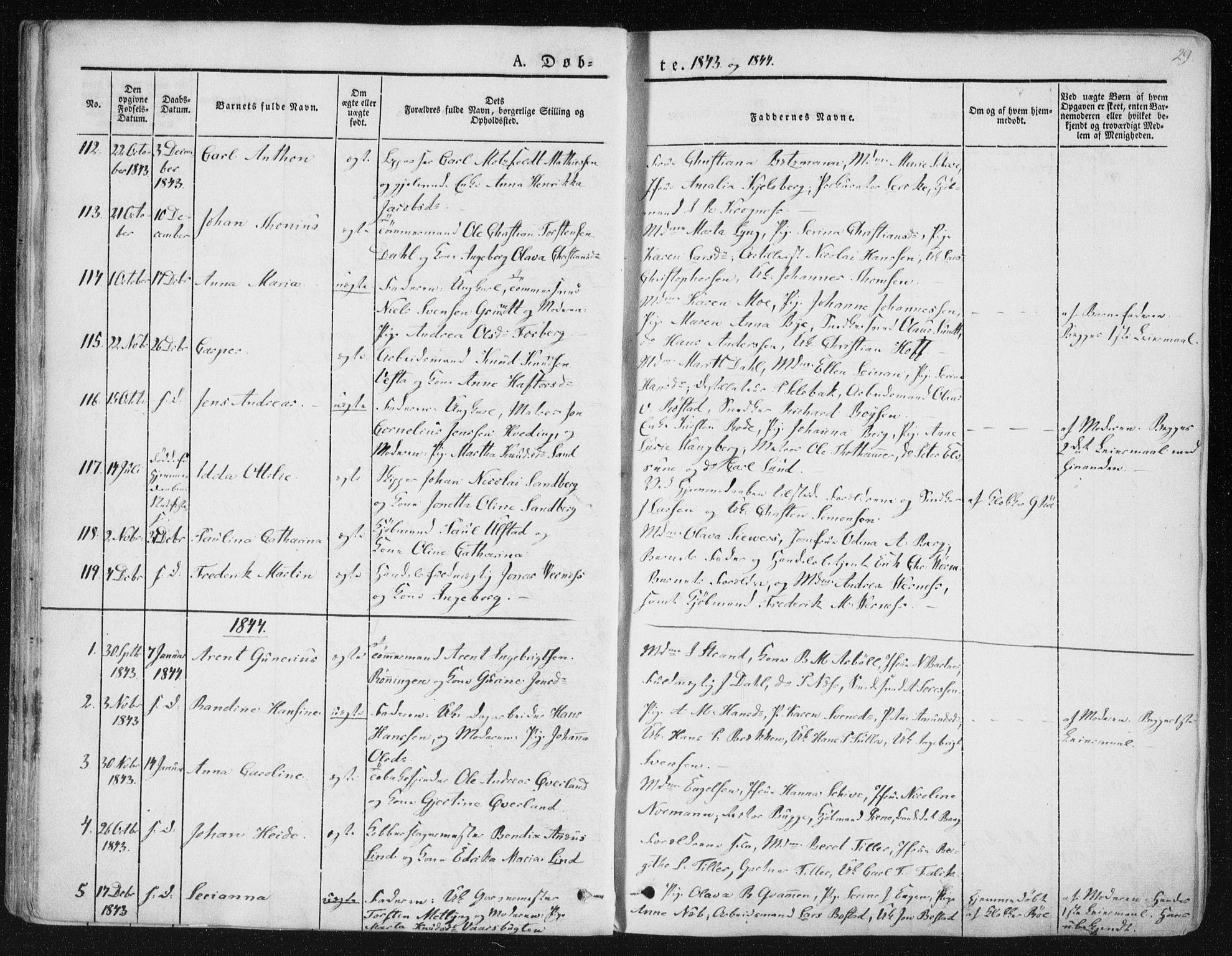 SAT, Ministerialprotokoller, klokkerbøker og fødselsregistre - Sør-Trøndelag, 602/L0110: Ministerialbok nr. 602A08, 1840-1854, s. 29