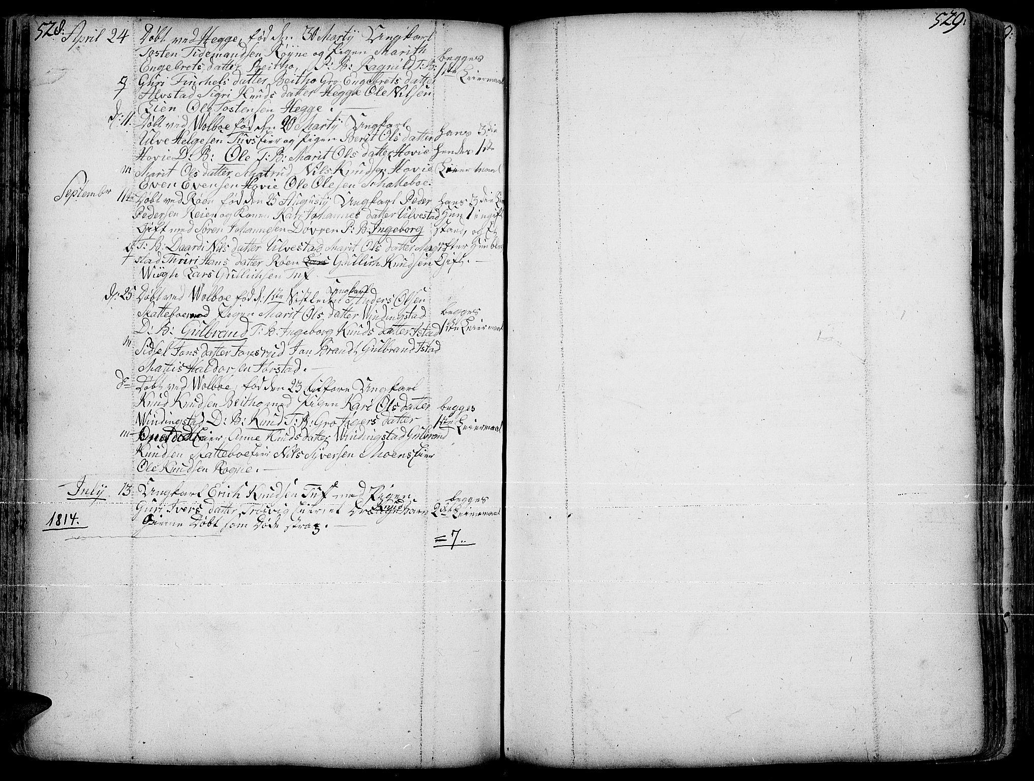 SAH, Slidre prestekontor, Ministerialbok nr. 1, 1724-1814, s. 528-529