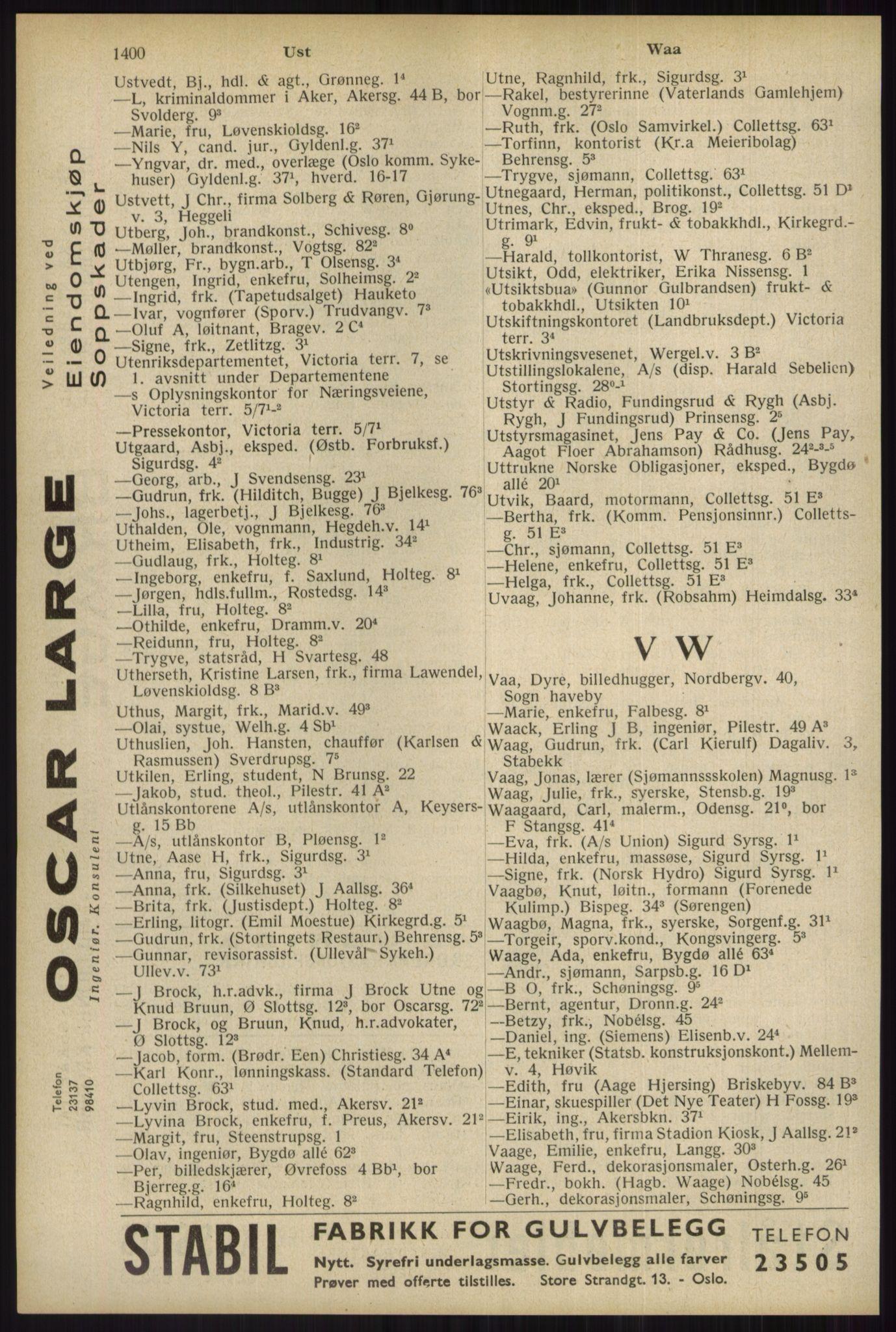 RA, Oslo adressebok (publikasjon)*, 1934, s. 1400