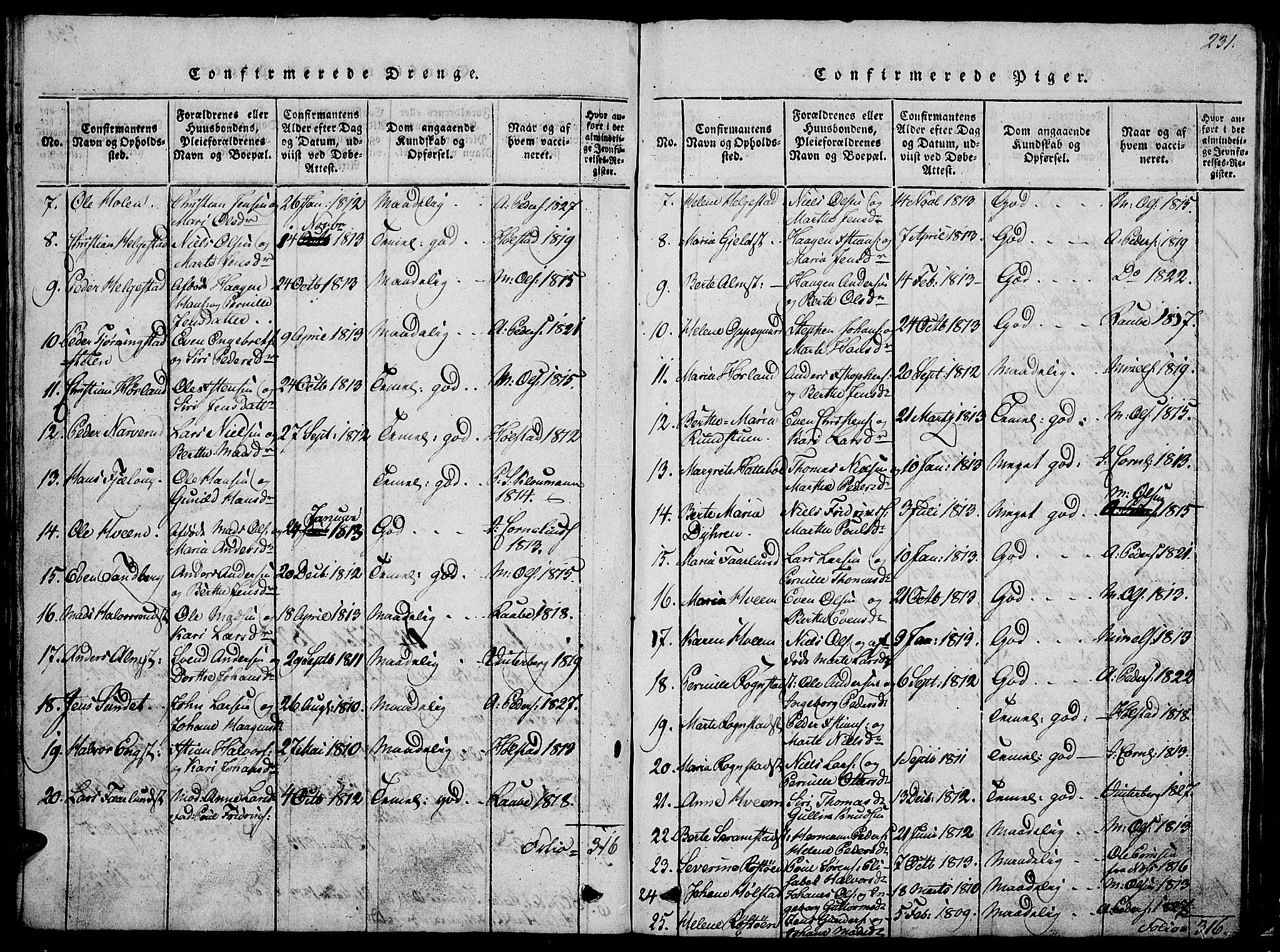 SAH, Østre Toten prestekontor, Klokkerbok nr. 1, 1827-1839, s. 231