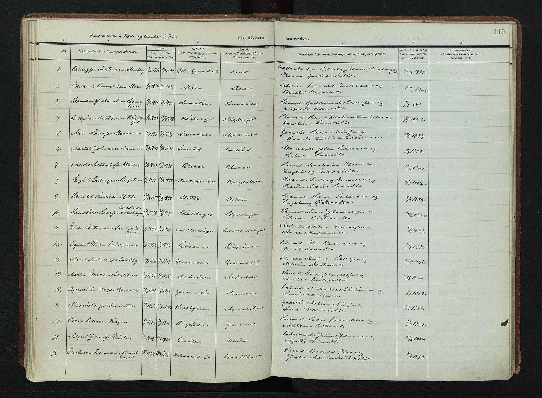 SAH, Søndre Land prestekontor, K/L0007: Ministerialbok nr. 7, 1905-1914, s. 113