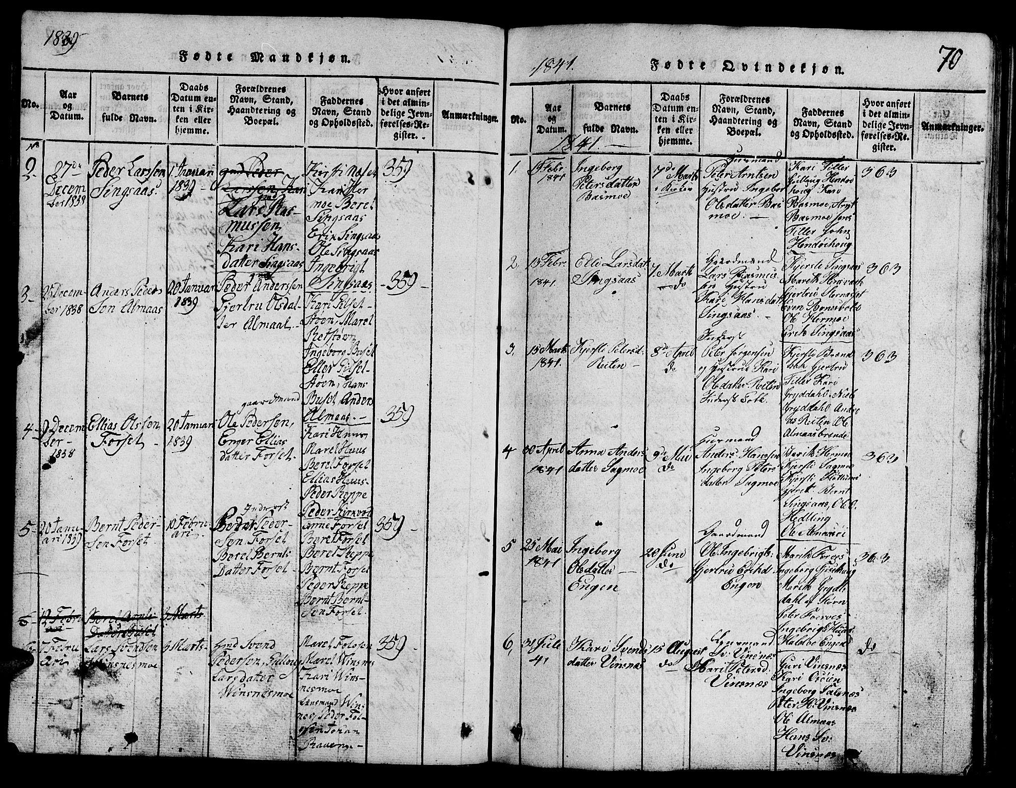 SAT, Ministerialprotokoller, klokkerbøker og fødselsregistre - Sør-Trøndelag, 688/L1026: Klokkerbok nr. 688C01, 1817-1860, s. 70