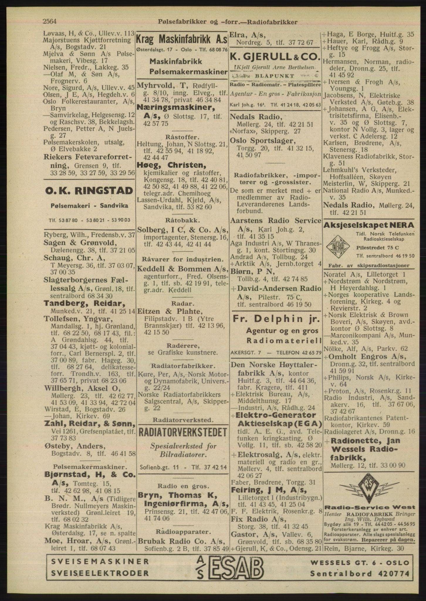 PUBL, Kristiania/Oslo adressebok, 1948, s. 2564