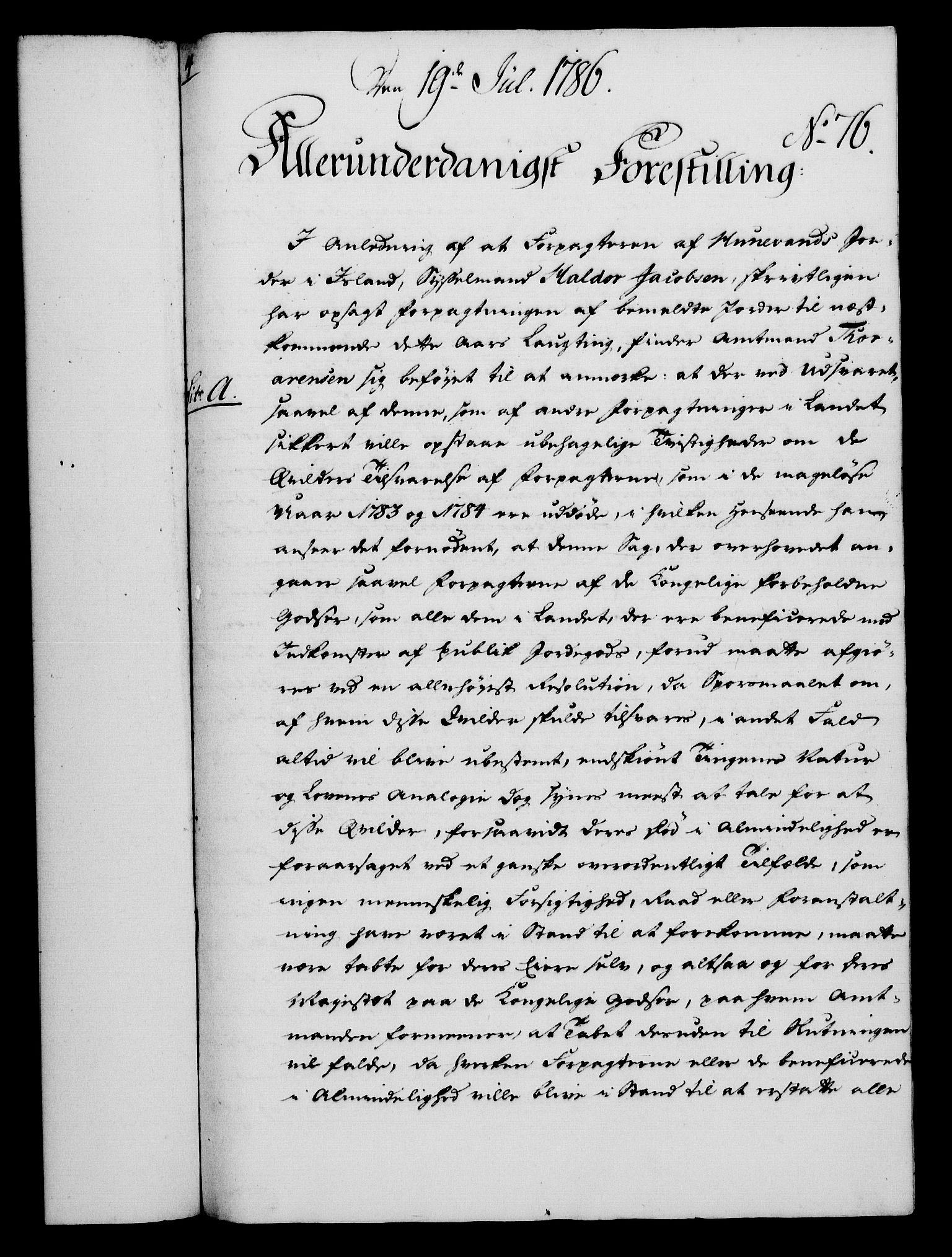 RA, Rentekammeret, Kammerkanselliet, G/Gf/Gfa/L0068: Norsk relasjons- og resolusjonsprotokoll (merket RK 52.68), 1786, s. 489