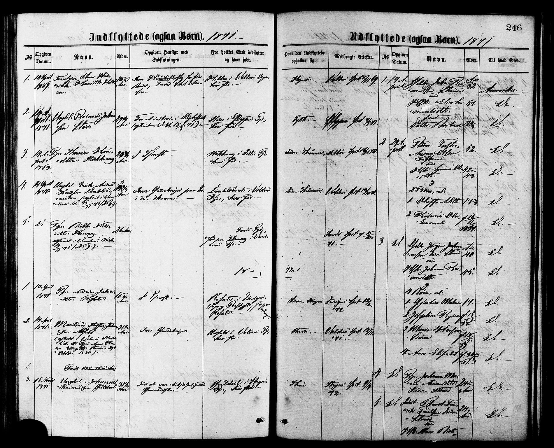 SAT, Ministerialprotokoller, klokkerbøker og fødselsregistre - Møre og Romsdal, 501/L0007: Ministerialbok nr. 501A07, 1868-1884, s. 246