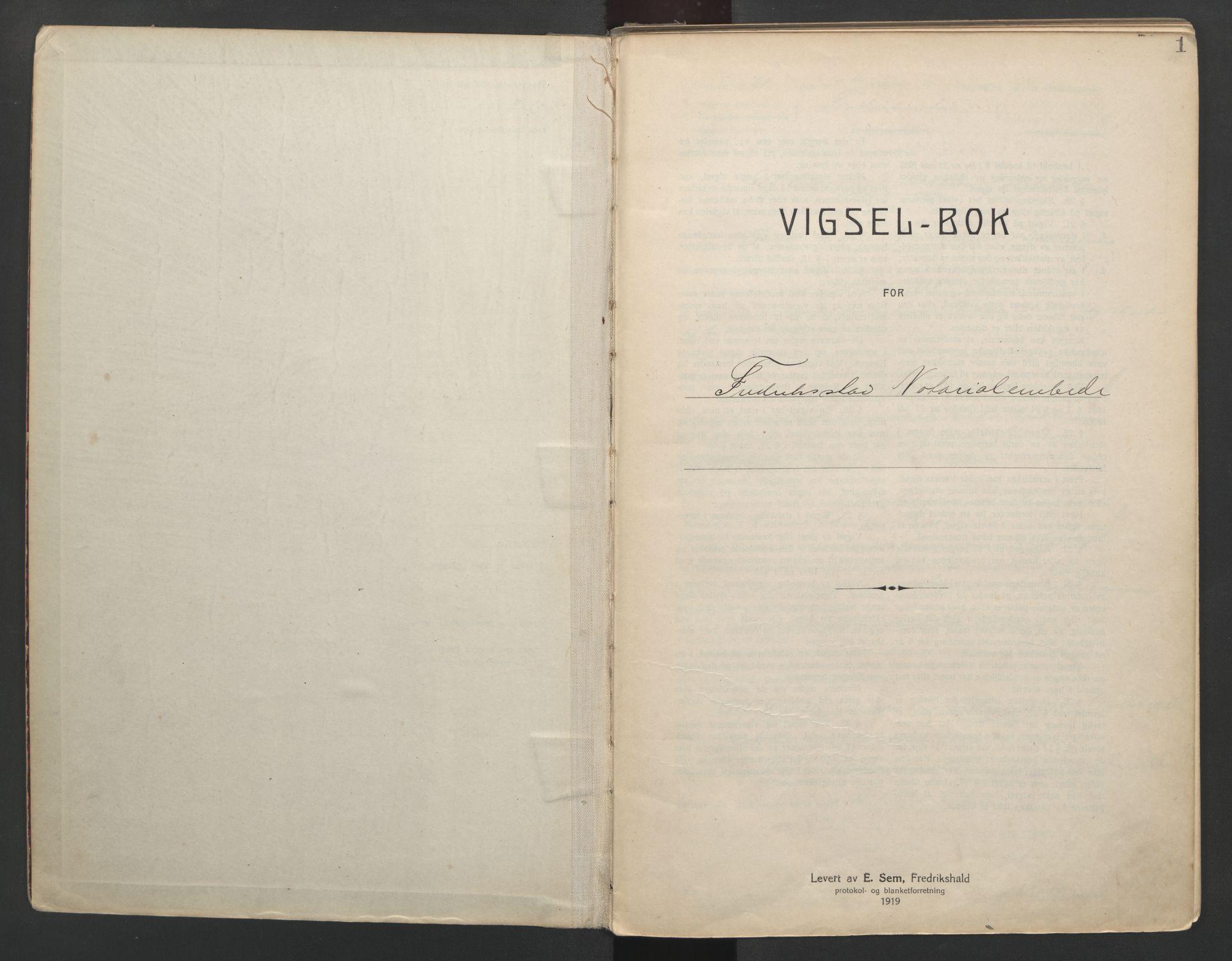 SAO, Fredrikstad byfogd, L/Lc/L0001: Vigselsbok, 1920-1937, s. 1