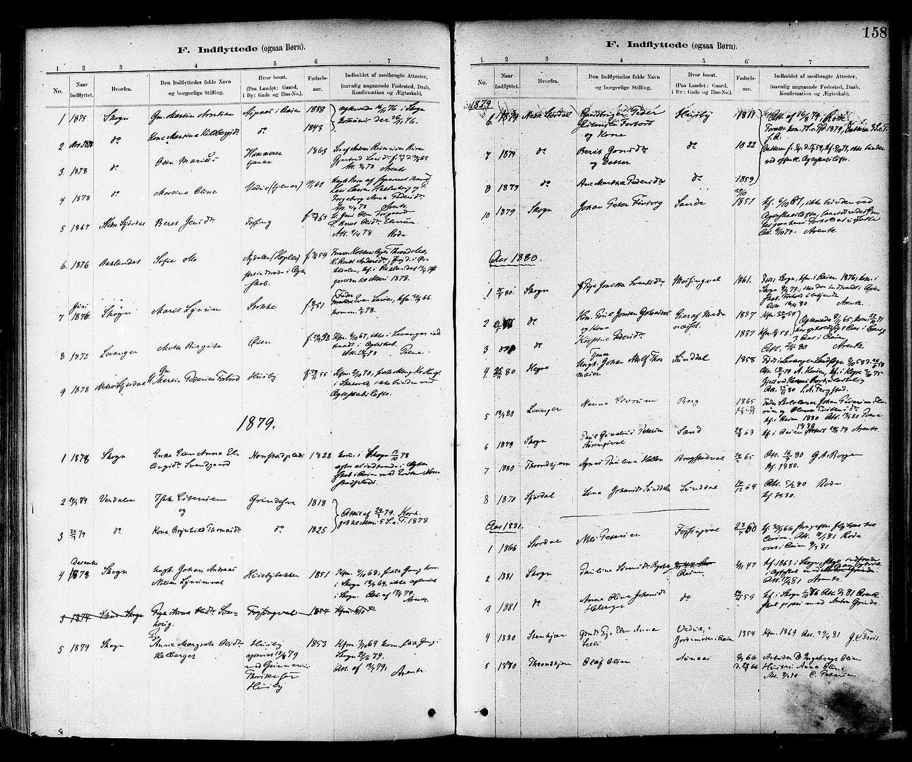 SAT, Ministerialprotokoller, klokkerbøker og fødselsregistre - Nord-Trøndelag, 714/L0130: Ministerialbok nr. 714A01, 1878-1895, s. 158
