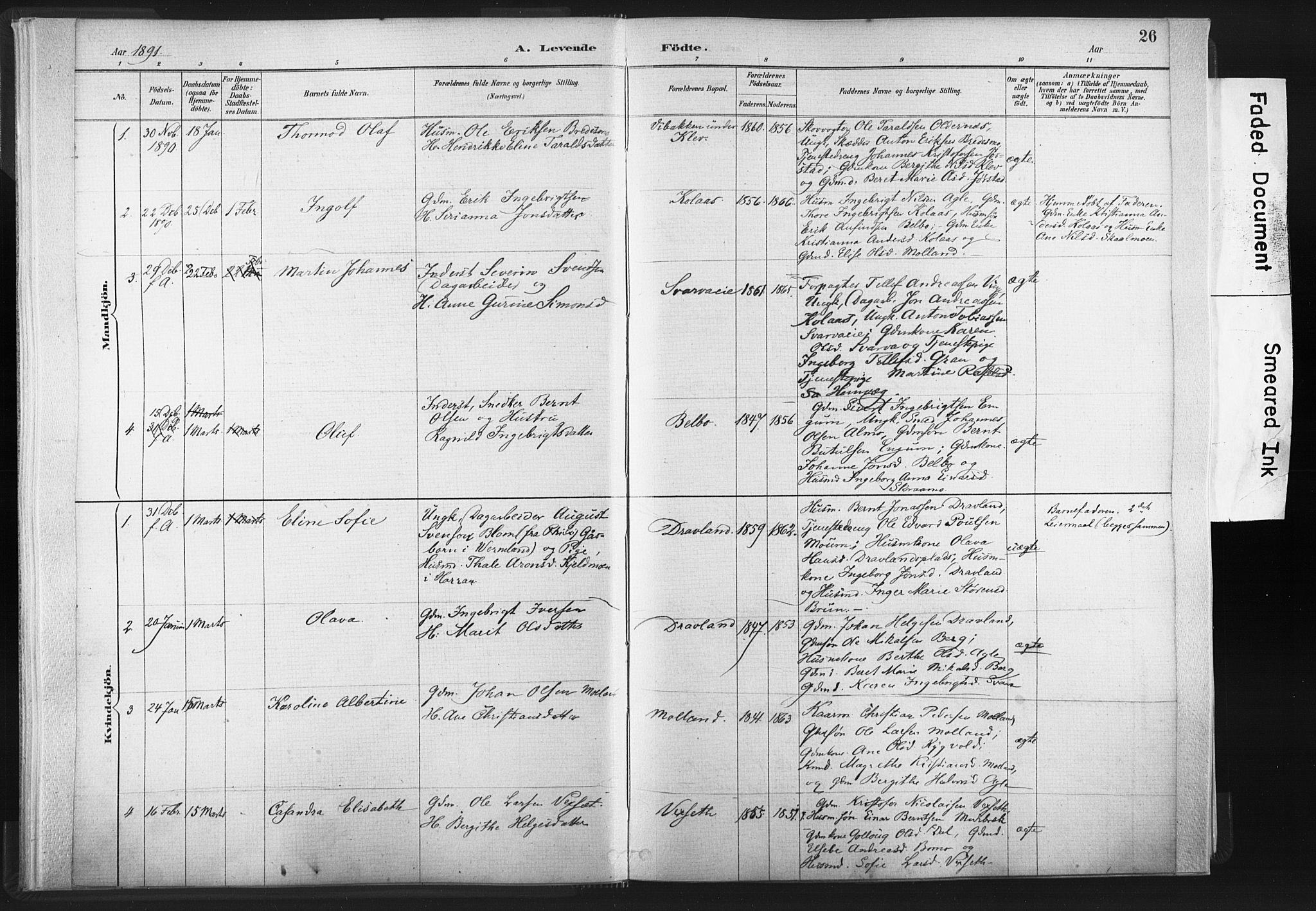 SAT, Ministerialprotokoller, klokkerbøker og fødselsregistre - Nord-Trøndelag, 749/L0474: Ministerialbok nr. 749A08, 1887-1903, s. 26