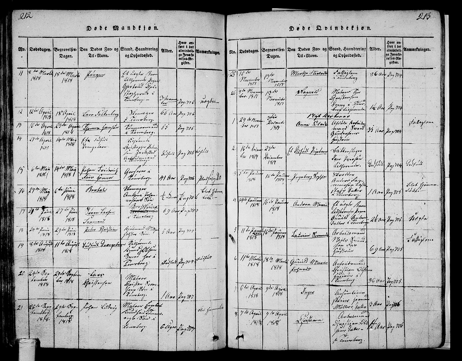 SAKO, Tønsberg kirkebøker, G/Ga/L0001: Klokkerbok nr. 1, 1813-1826, s. 212-213