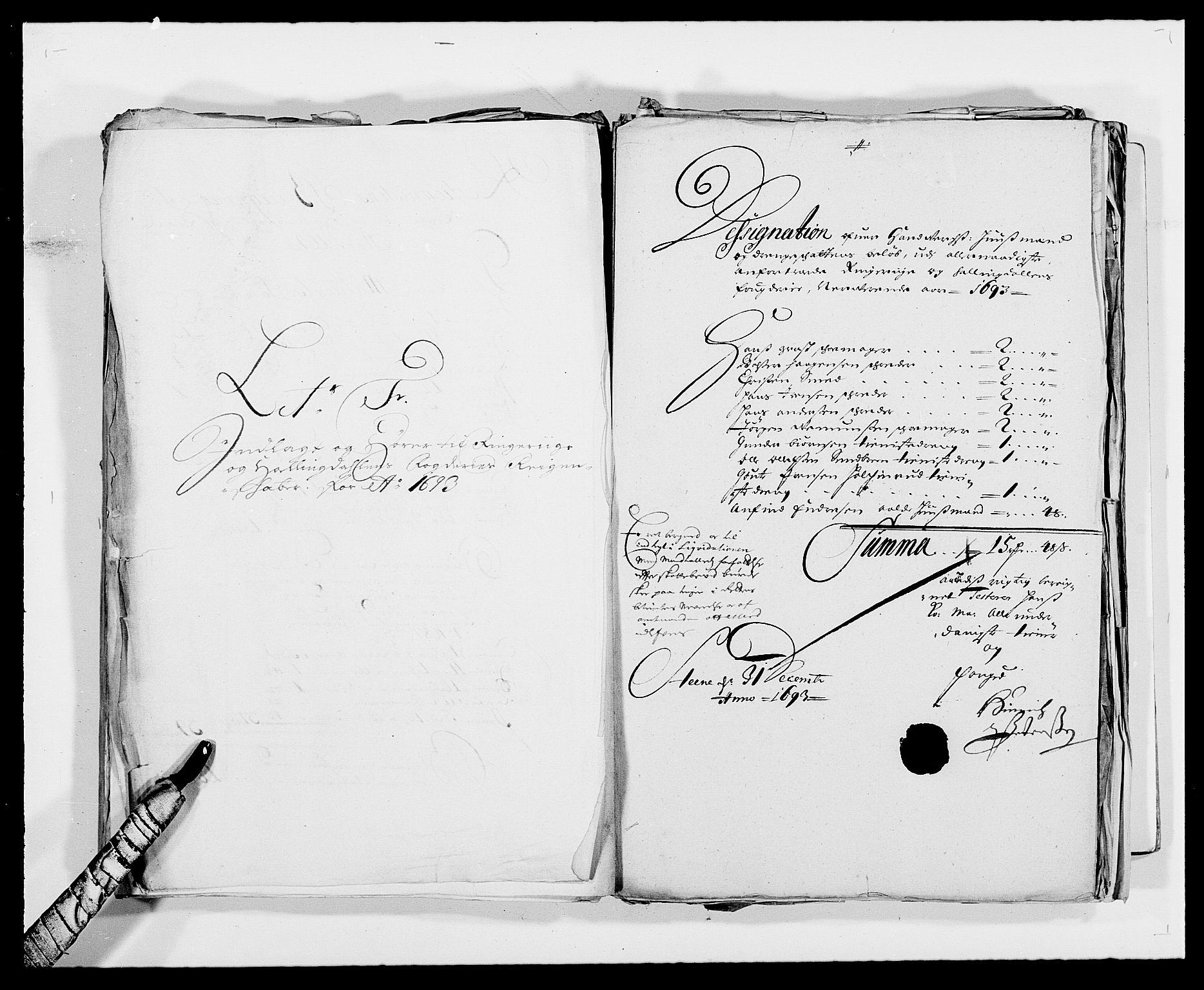 RA, Rentekammeret inntil 1814, Reviderte regnskaper, Fogderegnskap, R21/L1450: Fogderegnskap Ringerike og Hallingdal, 1693, s. 107