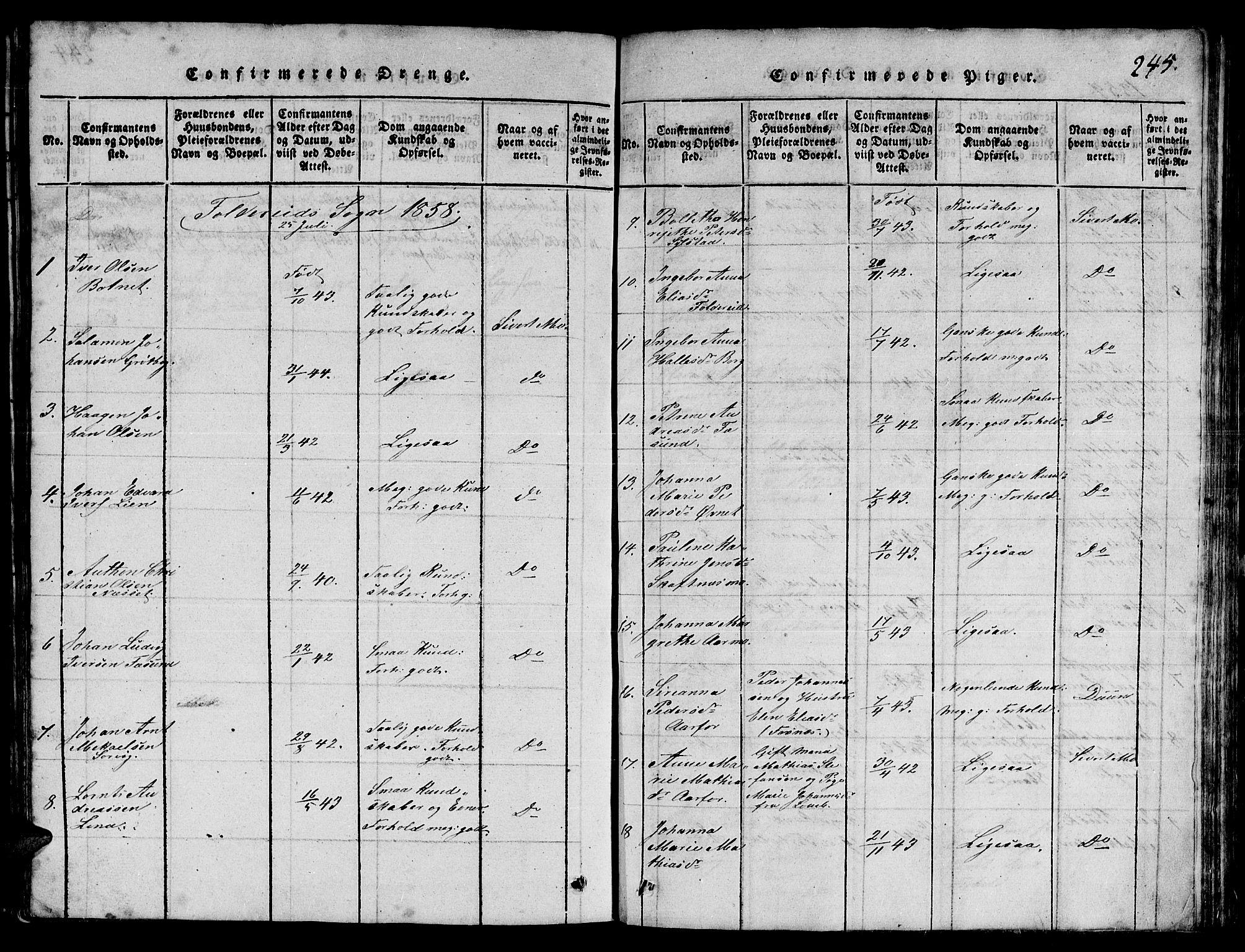SAT, Ministerialprotokoller, klokkerbøker og fødselsregistre - Nord-Trøndelag, 780/L0648: Klokkerbok nr. 780C01 /3, 1815-1877, s. 245