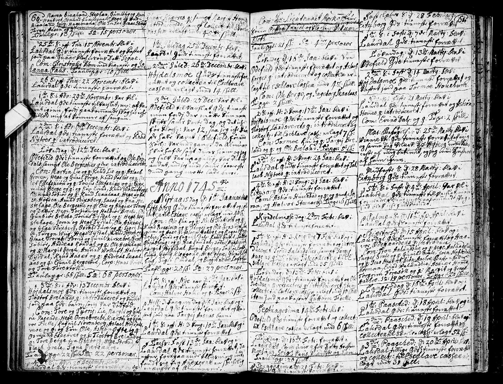 SAKO, Lårdal kirkebøker, F/Fa/L0002: Ministerialbok nr. I 2, 1734-1754, s. 60-61