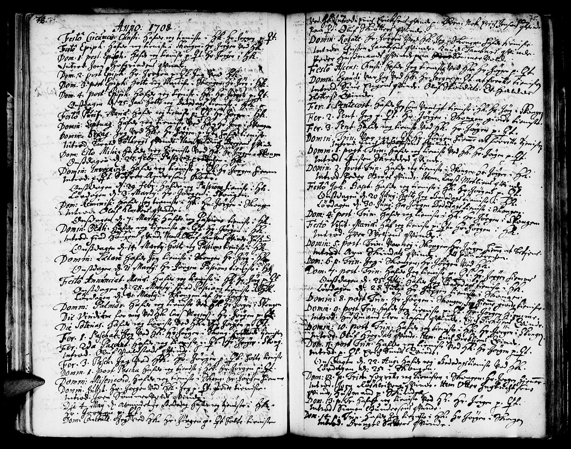 SAT, Ministerialprotokoller, klokkerbøker og fødselsregistre - Sør-Trøndelag, 668/L0801: Ministerialbok nr. 668A01, 1695-1716, s. 74-75