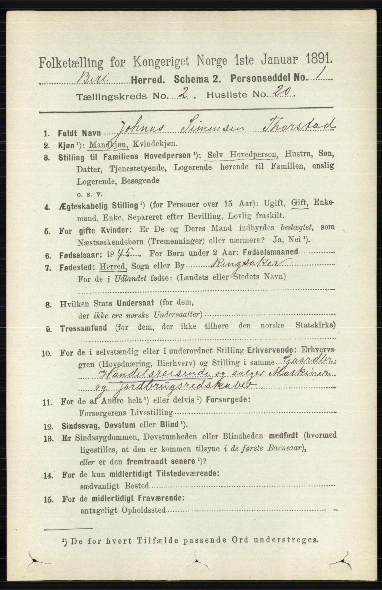 RA, Folketelling 1891 for 0525 Biri herred, 1891, s. 606