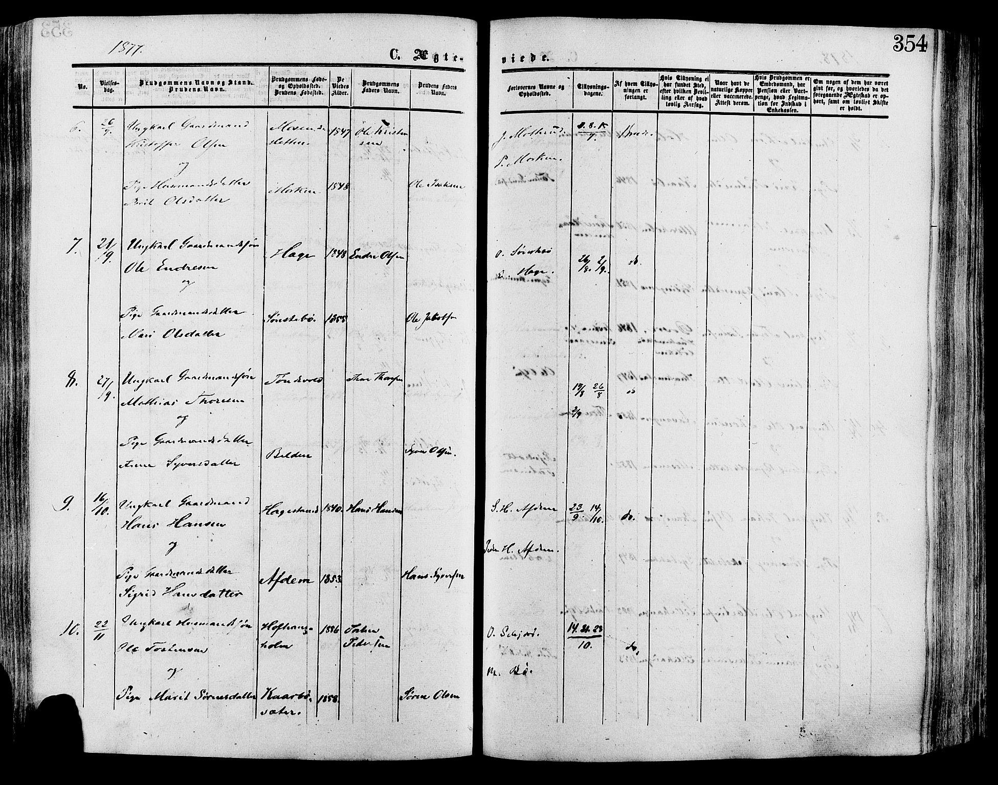 SAH, Lesja prestekontor, Ministerialbok nr. 8, 1854-1880, s. 354