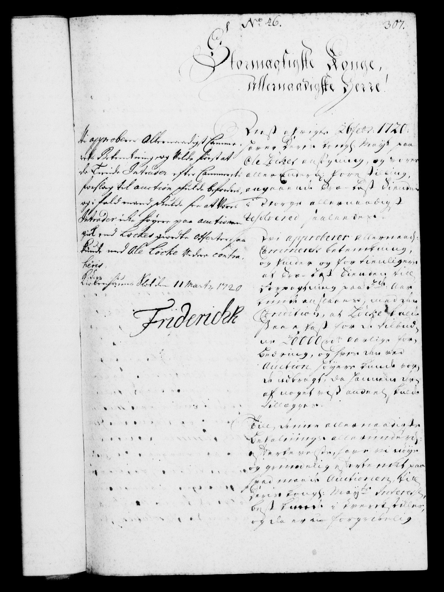 RA, Rentekammeret, Kammerkanselliet, G/Gf/Gfa/L0002: Norsk relasjons- og resolusjonsprotokoll (merket RK 52.2), 1720, s. 307