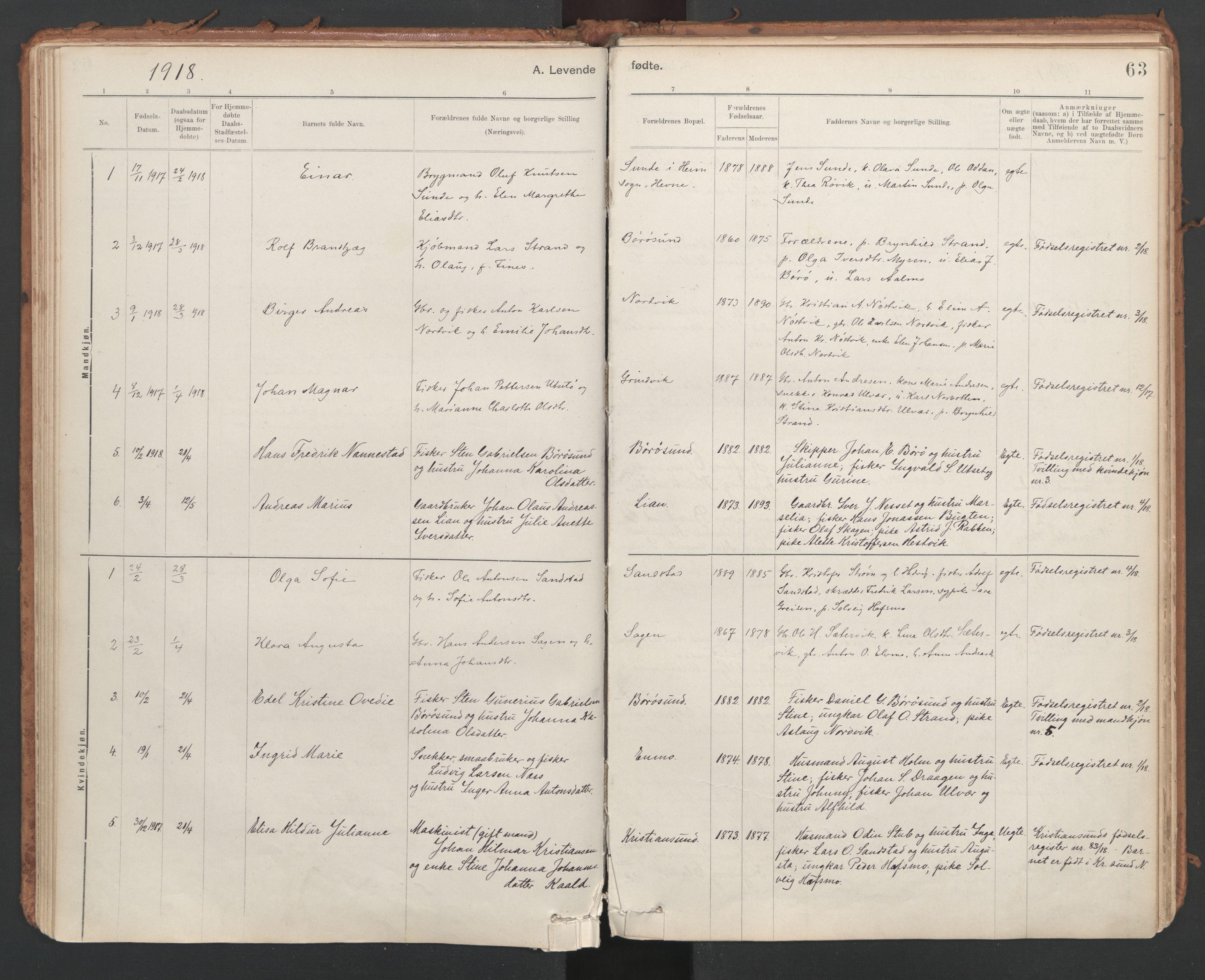 SAT, Ministerialprotokoller, klokkerbøker og fødselsregistre - Sør-Trøndelag, 639/L0572: Ministerialbok nr. 639A01, 1890-1920, s. 63