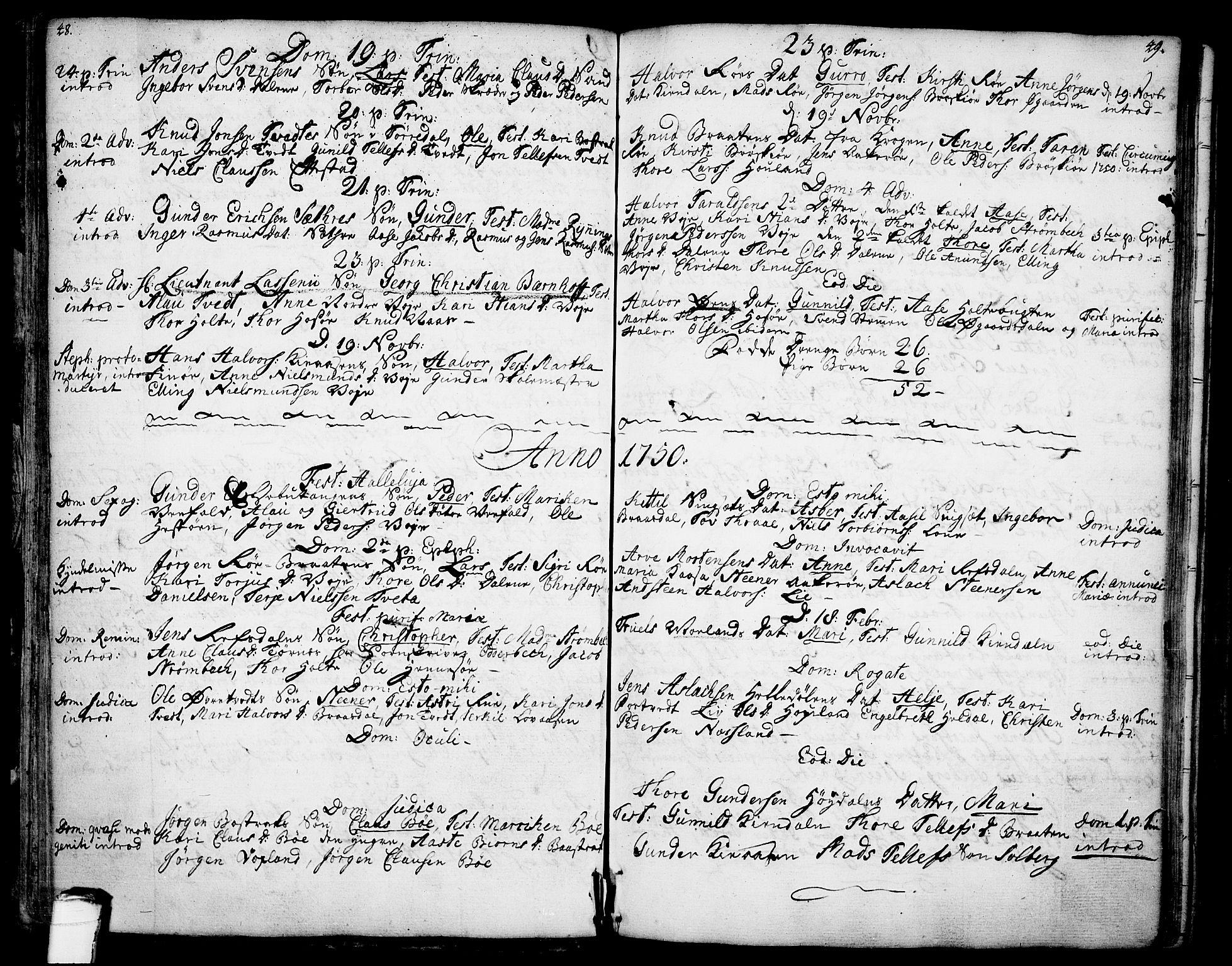 SAKO, Drangedal kirkebøker, F/Fa/L0001: Ministerialbok nr. 1, 1697-1767, s. 48-49