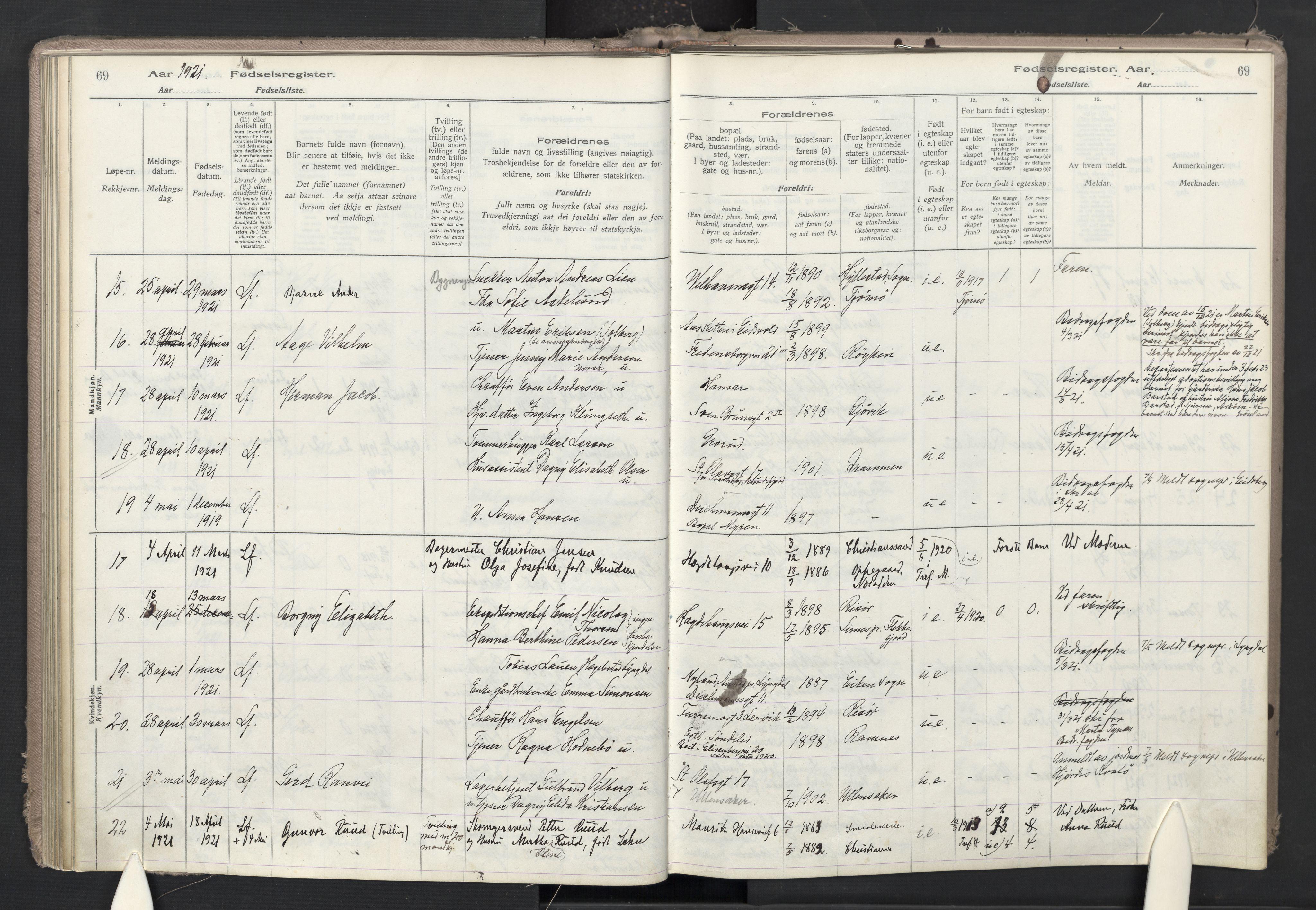 SAO, Trefoldighet prestekontor Kirkebøker, J/Ja/L0001: Fødselsregister nr. 1, 1916-1931, s. 69