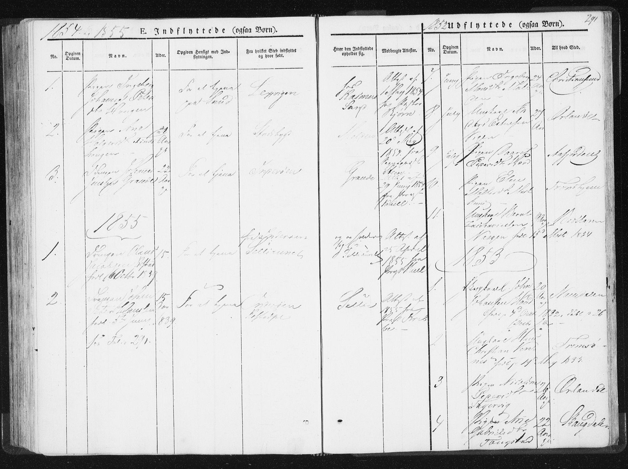 SAT, Ministerialprotokoller, klokkerbøker og fødselsregistre - Nord-Trøndelag, 744/L0418: Ministerialbok nr. 744A02, 1843-1866, s. 291