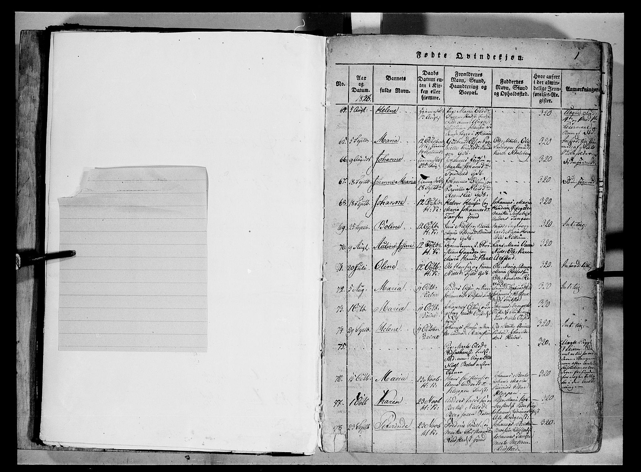 SAH, Østre Toten prestekontor, Ministerialbok nr. 1, 1828-1839, s. 1