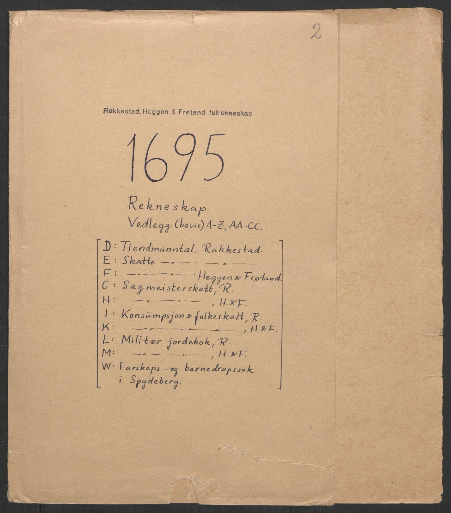 RA, Rentekammeret inntil 1814, Reviderte regnskaper, Fogderegnskap, R07/L0285: Fogderegnskap Rakkestad, Heggen og Frøland, 1695, s. 3