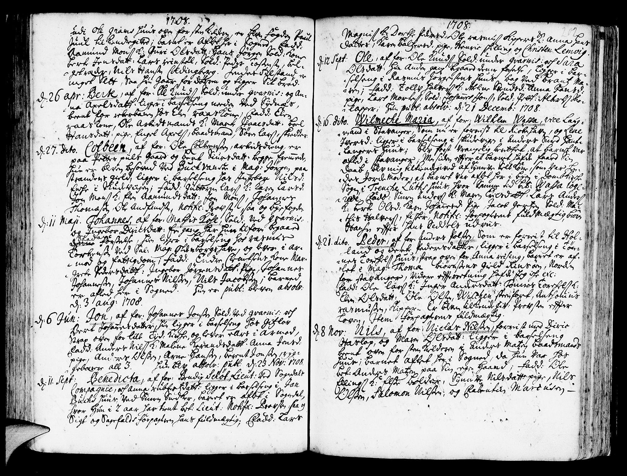 SAB, Korskirken Sokneprestembete, H/Haa/L0003: Ministerialbok nr. A 3, 1698-1719, s. 202