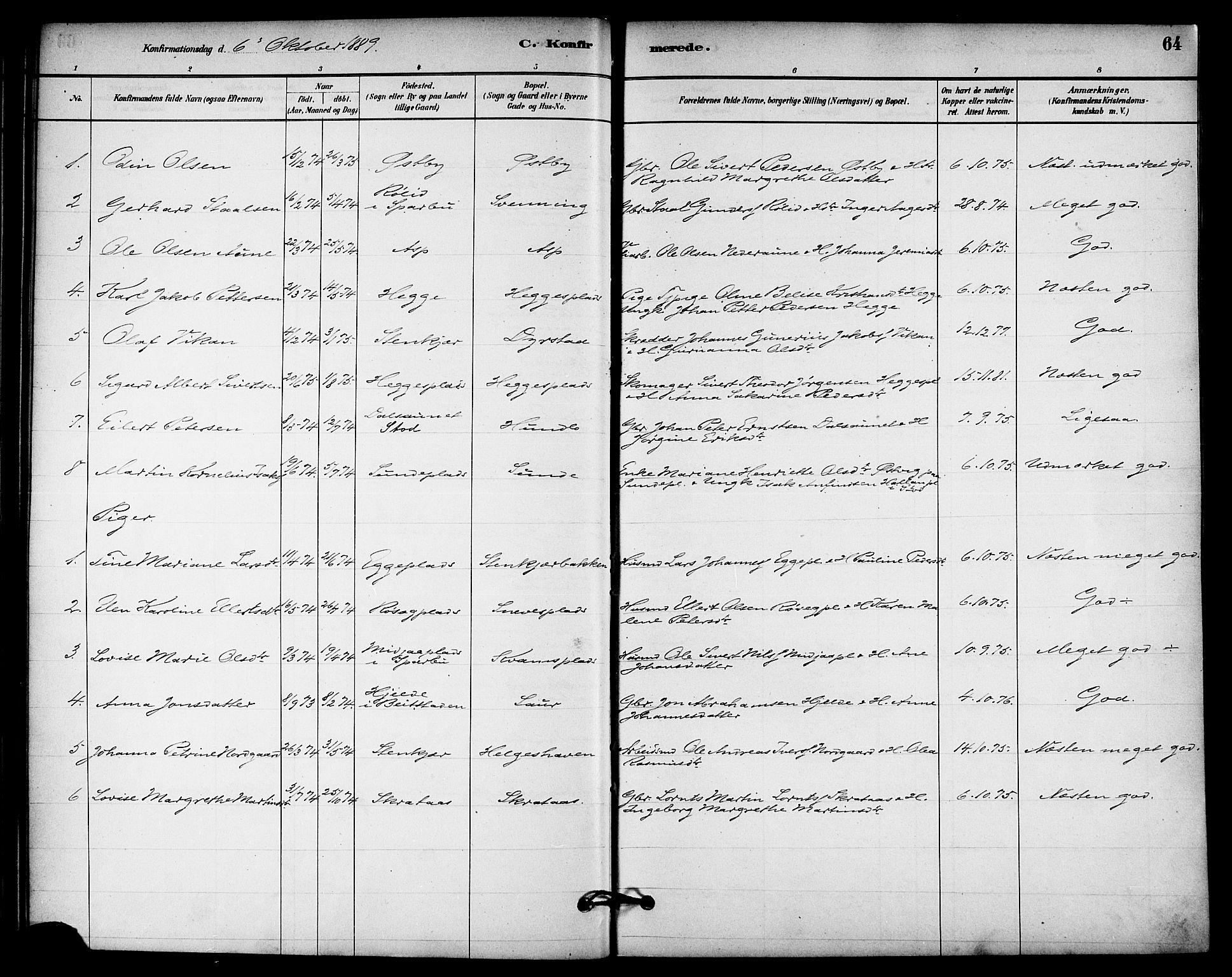 SAT, Ministerialprotokoller, klokkerbøker og fødselsregistre - Nord-Trøndelag, 740/L0378: Ministerialbok nr. 740A01, 1881-1895, s. 64