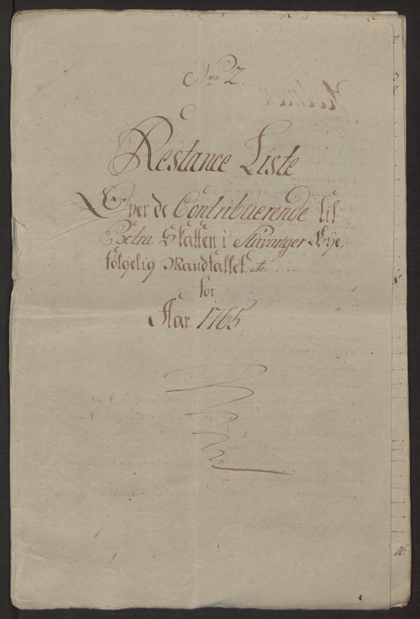 RA, Rentekammeret inntil 1814, Reviderte regnskaper, Byregnskaper, R/Ro/L0305: [O6] Kontribusjonsregnskap, 1762-1768, s. 129