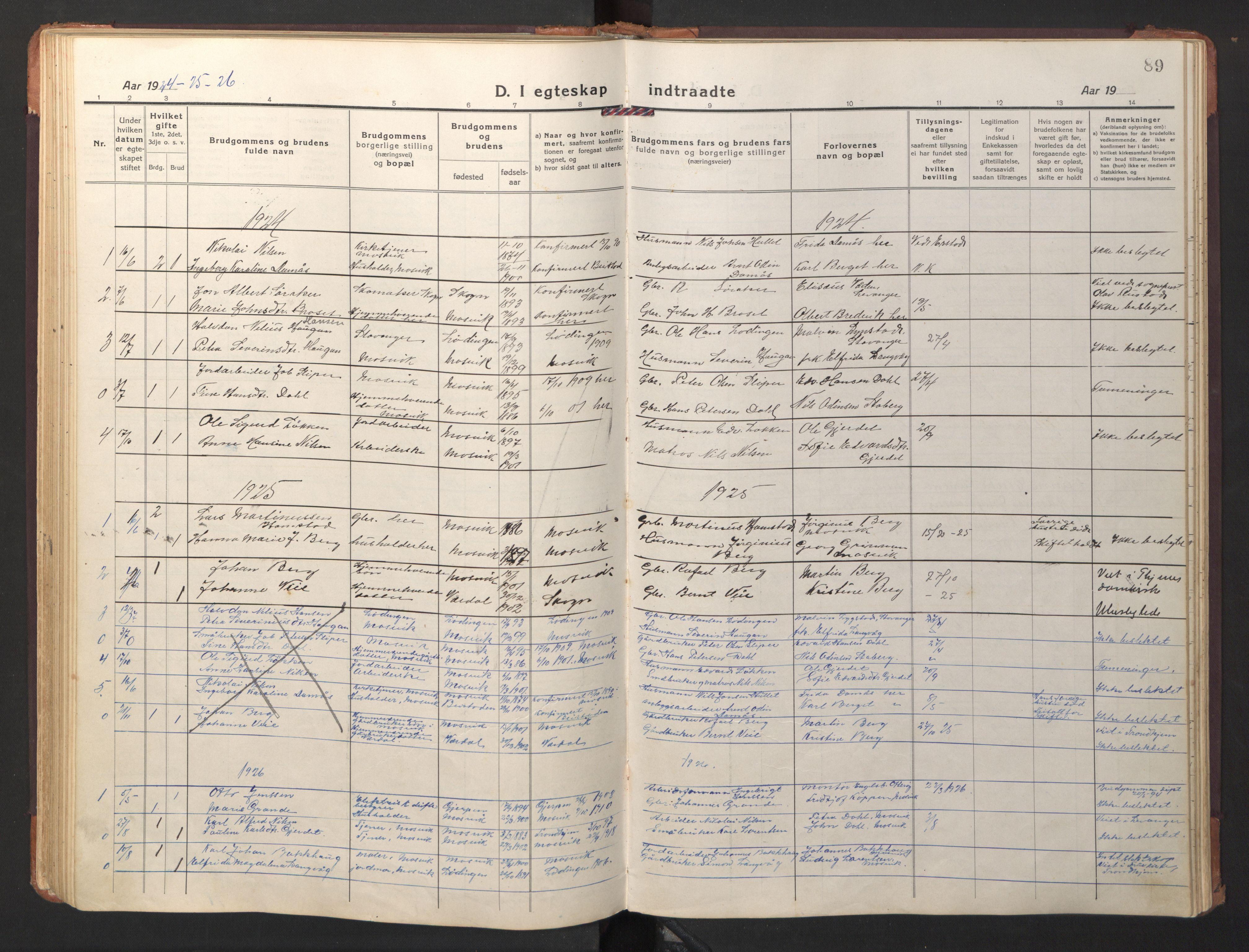 SAT, Ministerialprotokoller, klokkerbøker og fødselsregistre - Nord-Trøndelag, 733/L0328: Klokkerbok nr. 733C03, 1919-1966, s. 89