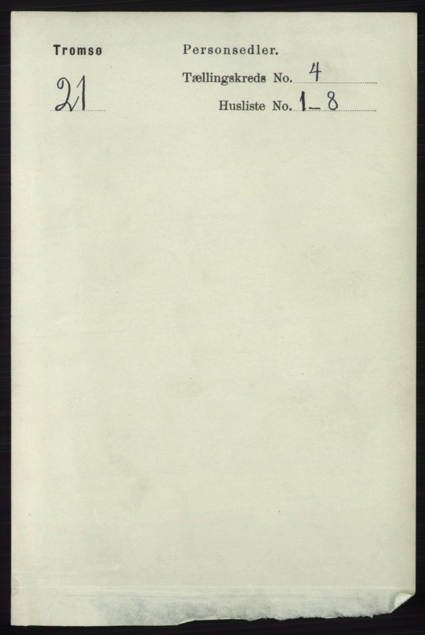 RA, Folketelling 1891 for 1902 Tromsø kjøpstad, 1891, s. 4085