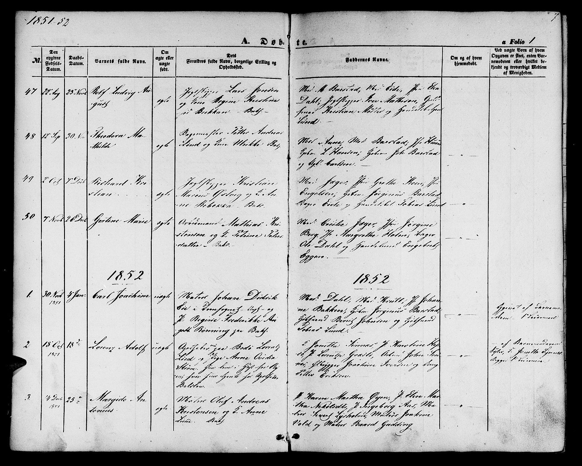 SAT, Ministerialprotokoller, klokkerbøker og fødselsregistre - Sør-Trøndelag, 604/L0184: Ministerialbok nr. 604A05, 1851-1860, s. 7