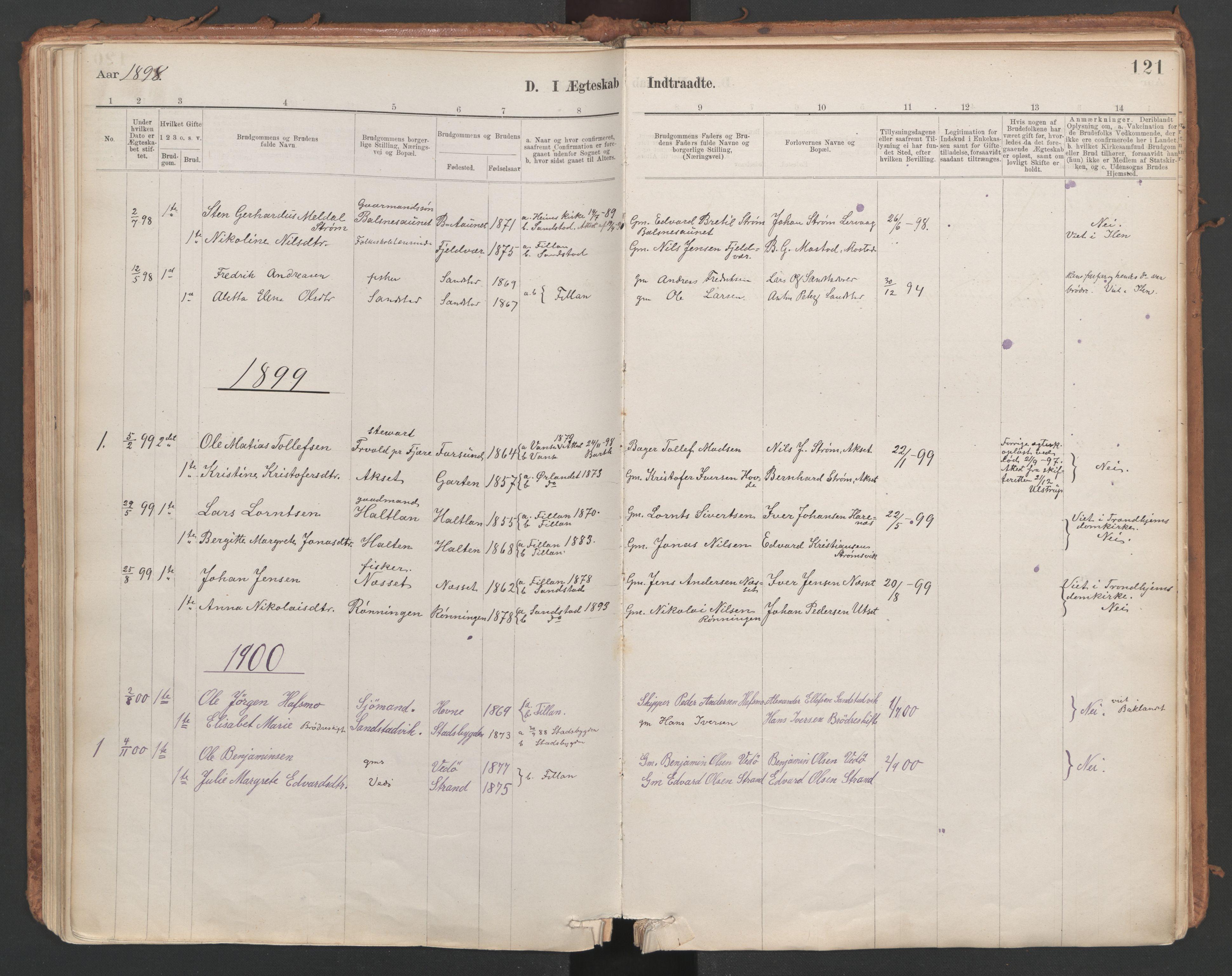SAT, Ministerialprotokoller, klokkerbøker og fødselsregistre - Sør-Trøndelag, 639/L0572: Ministerialbok nr. 639A01, 1890-1920, s. 121