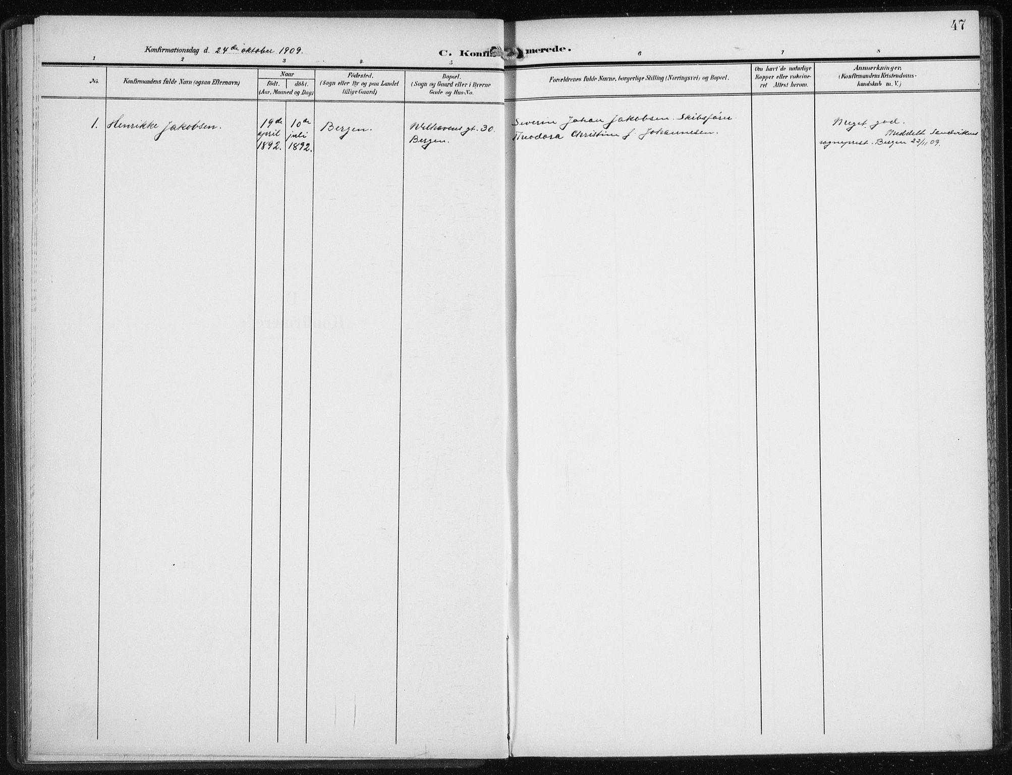 SAB, Den Norske Sjømannsmisjon i utlandet*, Ministerialbok nr. A 6, 1909-1914, s. 47