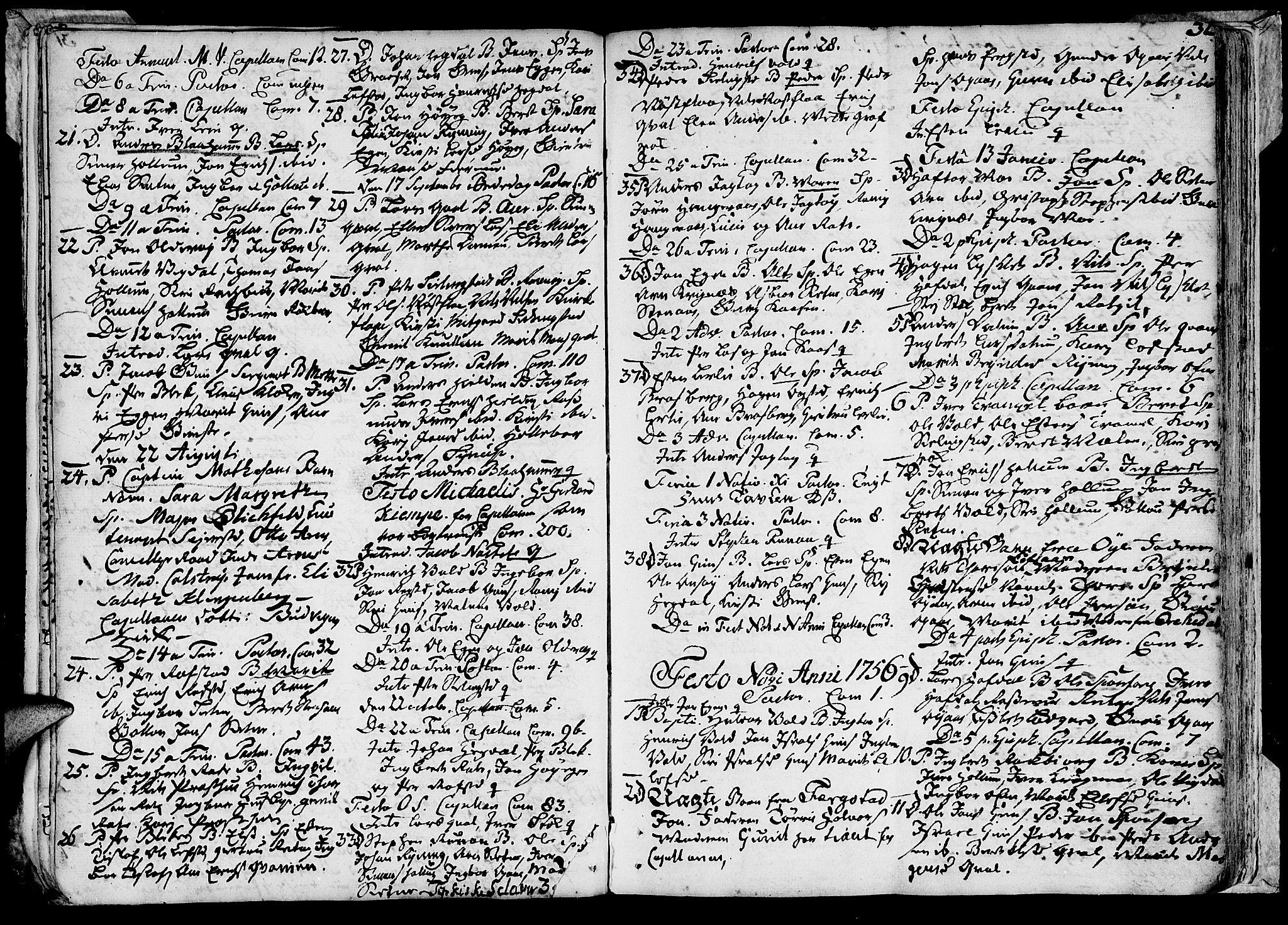SAT, Ministerialprotokoller, klokkerbøker og fødselsregistre - Sør-Trøndelag, 691/L1057: Ministerialbok nr. 691A01 /1, 1740-1767, s. 32