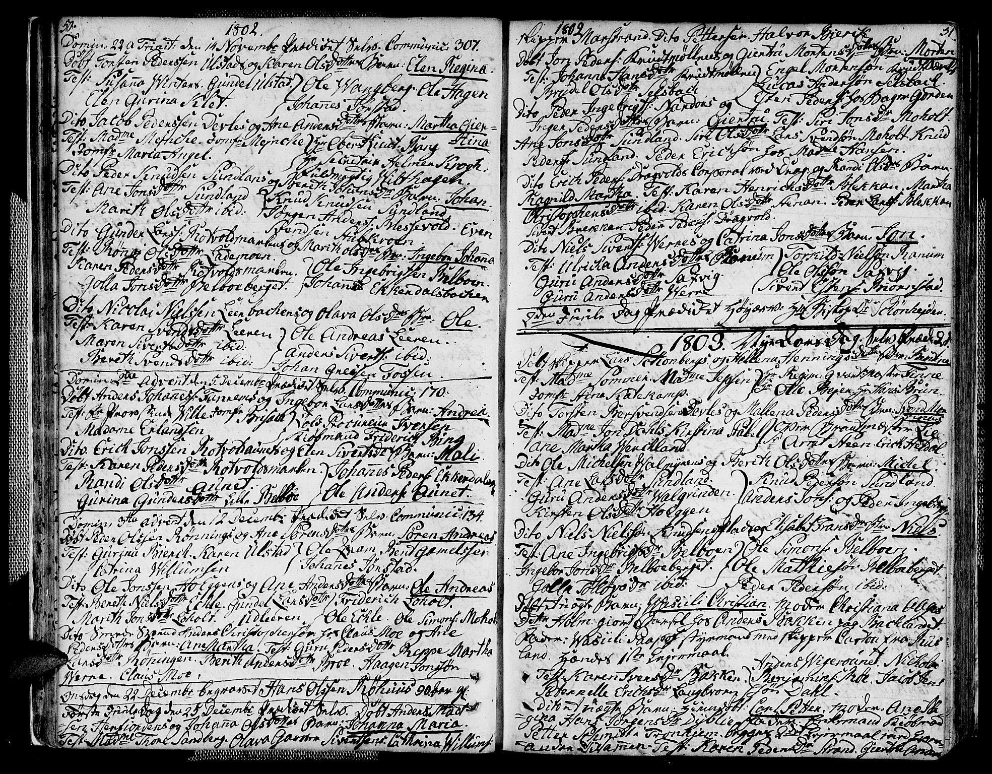 SAT, Ministerialprotokoller, klokkerbøker og fødselsregistre - Sør-Trøndelag, 604/L0181: Ministerialbok nr. 604A02, 1798-1817, s. 50-51