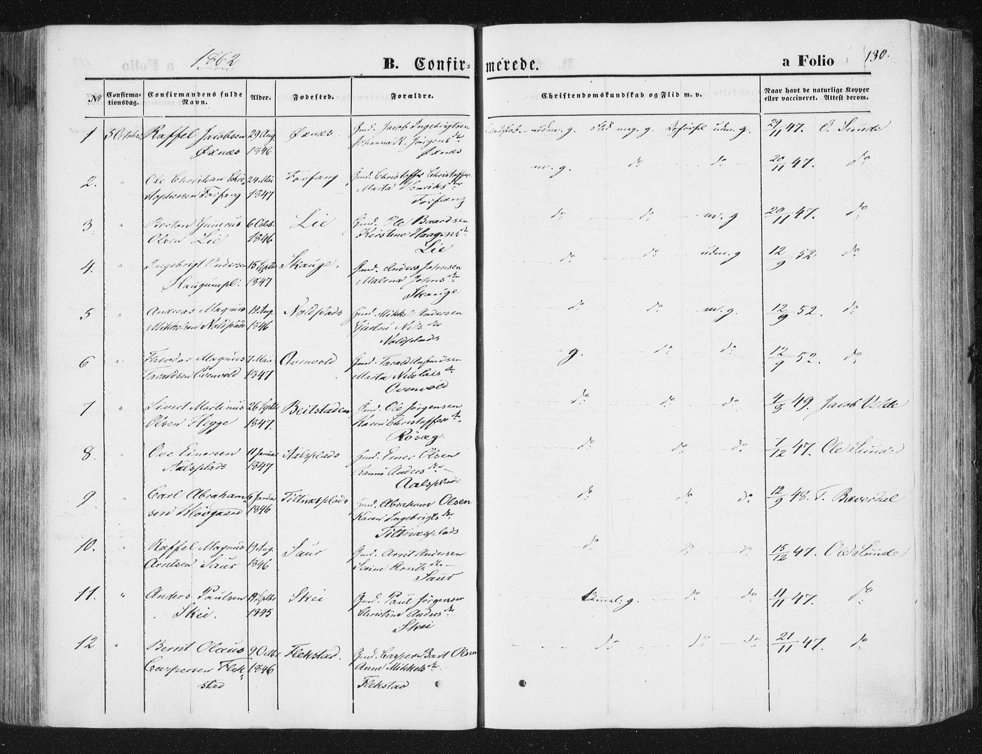 SAT, Ministerialprotokoller, klokkerbøker og fødselsregistre - Nord-Trøndelag, 746/L0447: Ministerialbok nr. 746A06, 1860-1877, s. 130