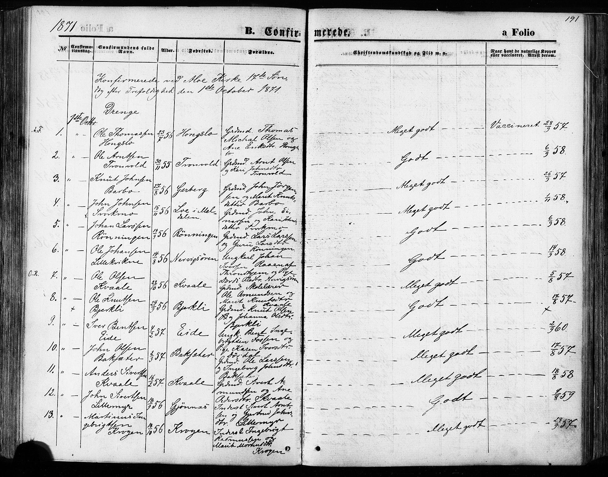 SAT, Ministerialprotokoller, klokkerbøker og fødselsregistre - Sør-Trøndelag, 668/L0807: Ministerialbok nr. 668A07, 1870-1880, s. 191