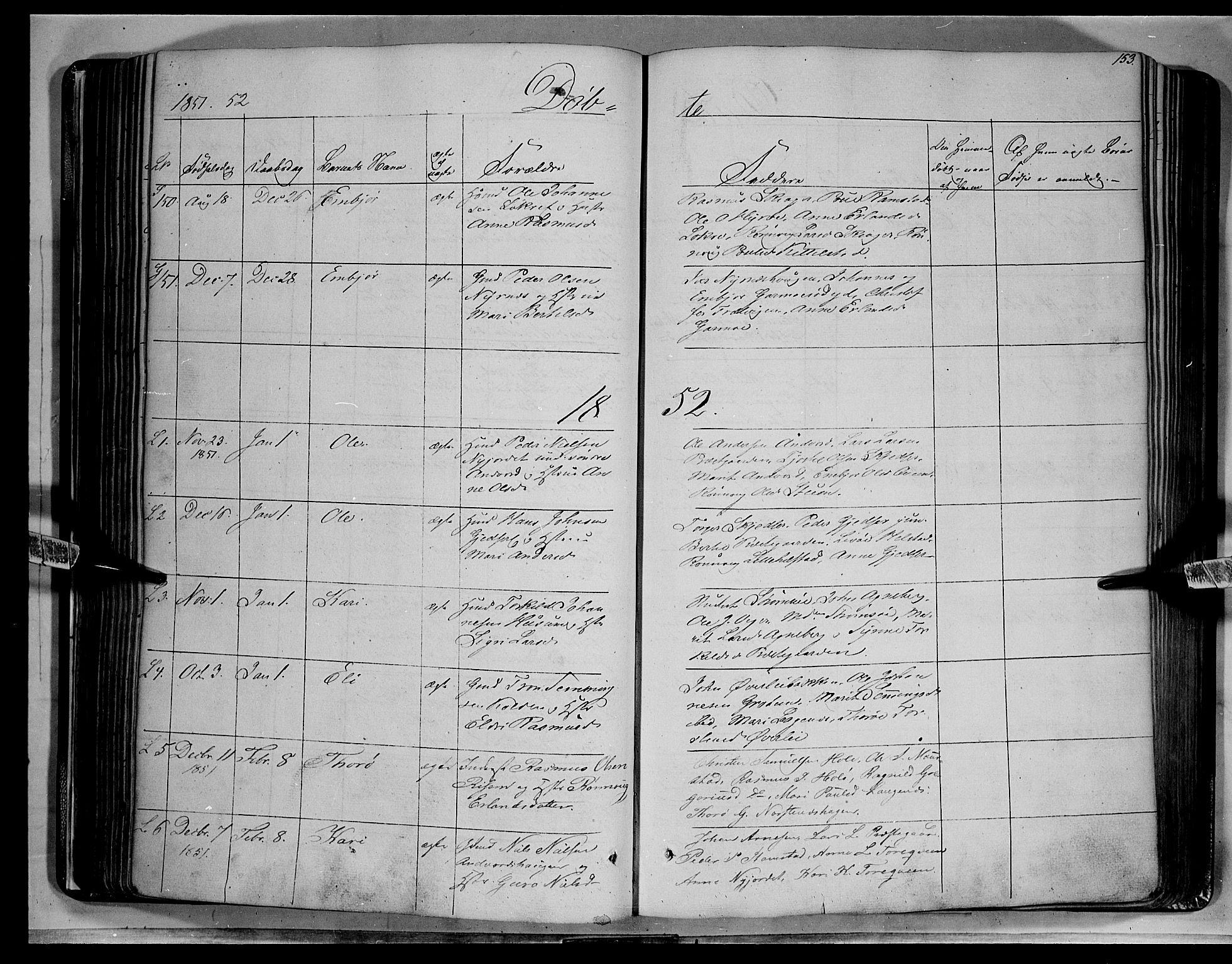 SAH, Lom prestekontor, K/L0006: Ministerialbok nr. 6A, 1837-1863, s. 153