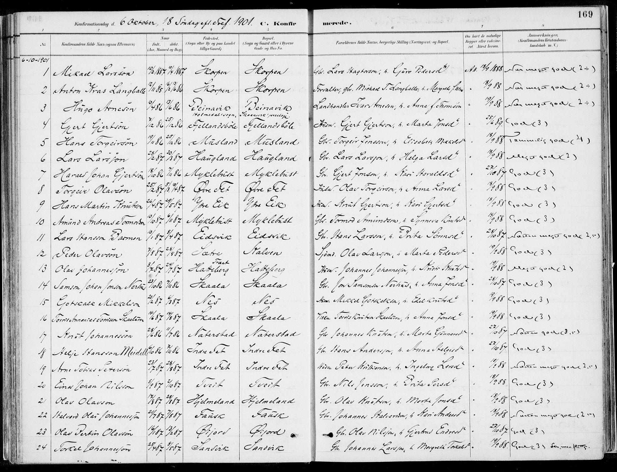 SAB, Kvinnherad Sokneprestembete, H/Haa: Ministerialbok nr. B  1, 1887-1921, s. 169
