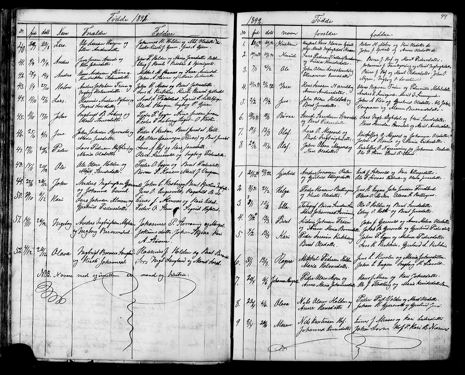SAT, Ministerialprotokoller, klokkerbøker og fødselsregistre - Sør-Trøndelag, 686/L0985: Klokkerbok nr. 686C01, 1871-1933, s. 44