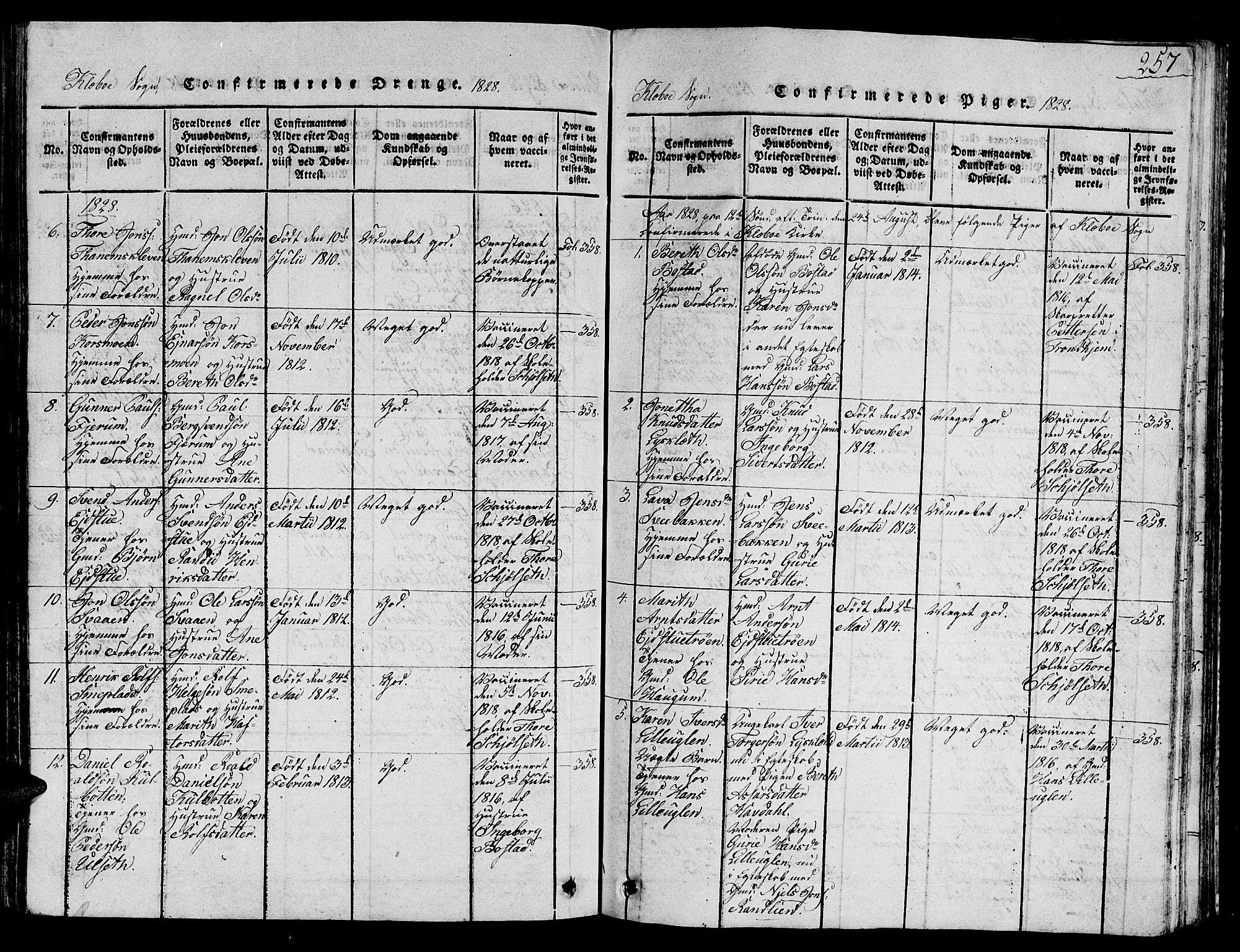 SAT, Ministerialprotokoller, klokkerbøker og fødselsregistre - Sør-Trøndelag, 618/L0450: Klokkerbok nr. 618C01, 1816-1865, s. 257